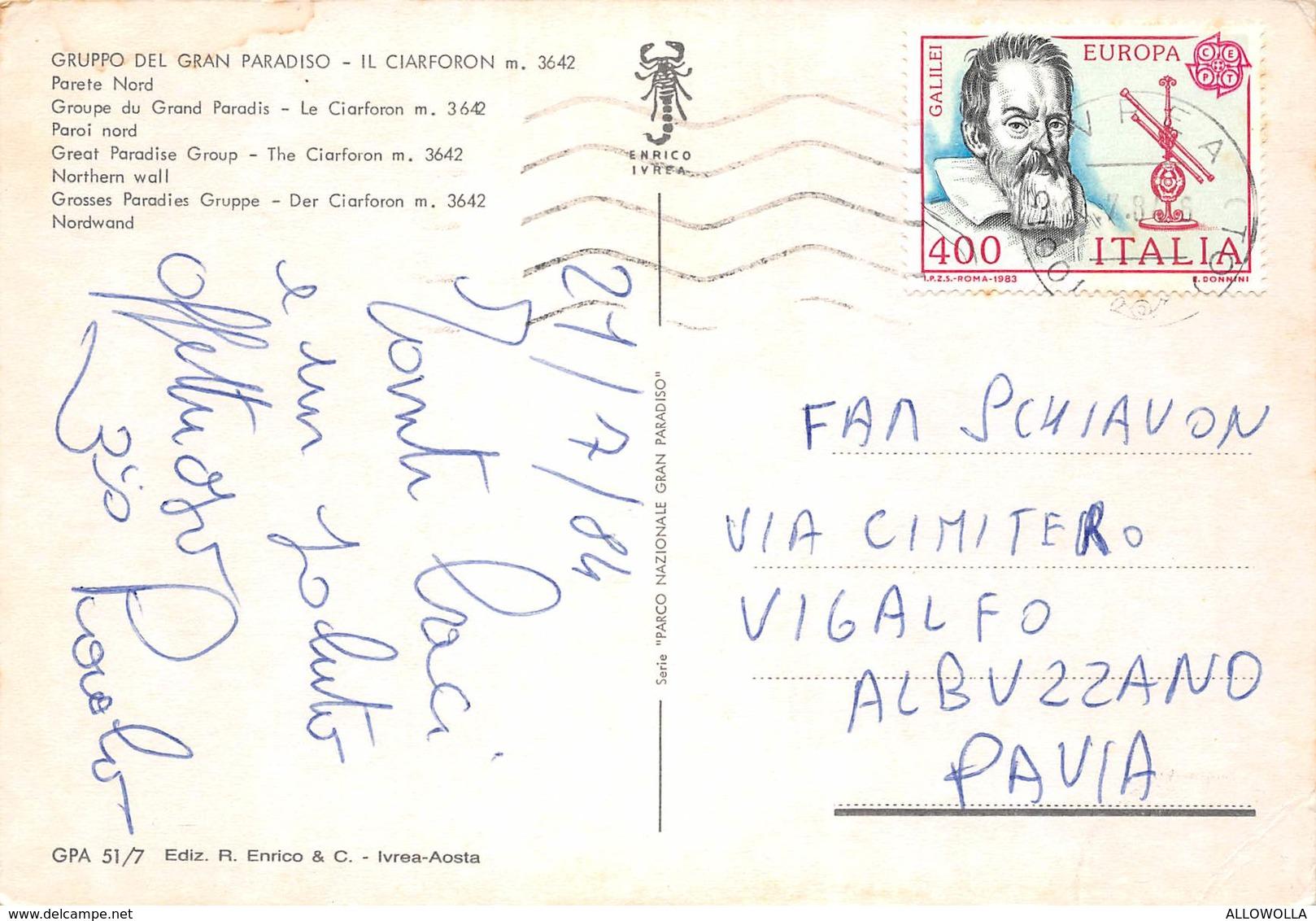 """4713"""" GRUPPO DEL GRAN PARADISO-IL CIARFORON M. 3642 - PARETE NORD """"  -CART. POST. OR. SPED.1984 - Italy"""