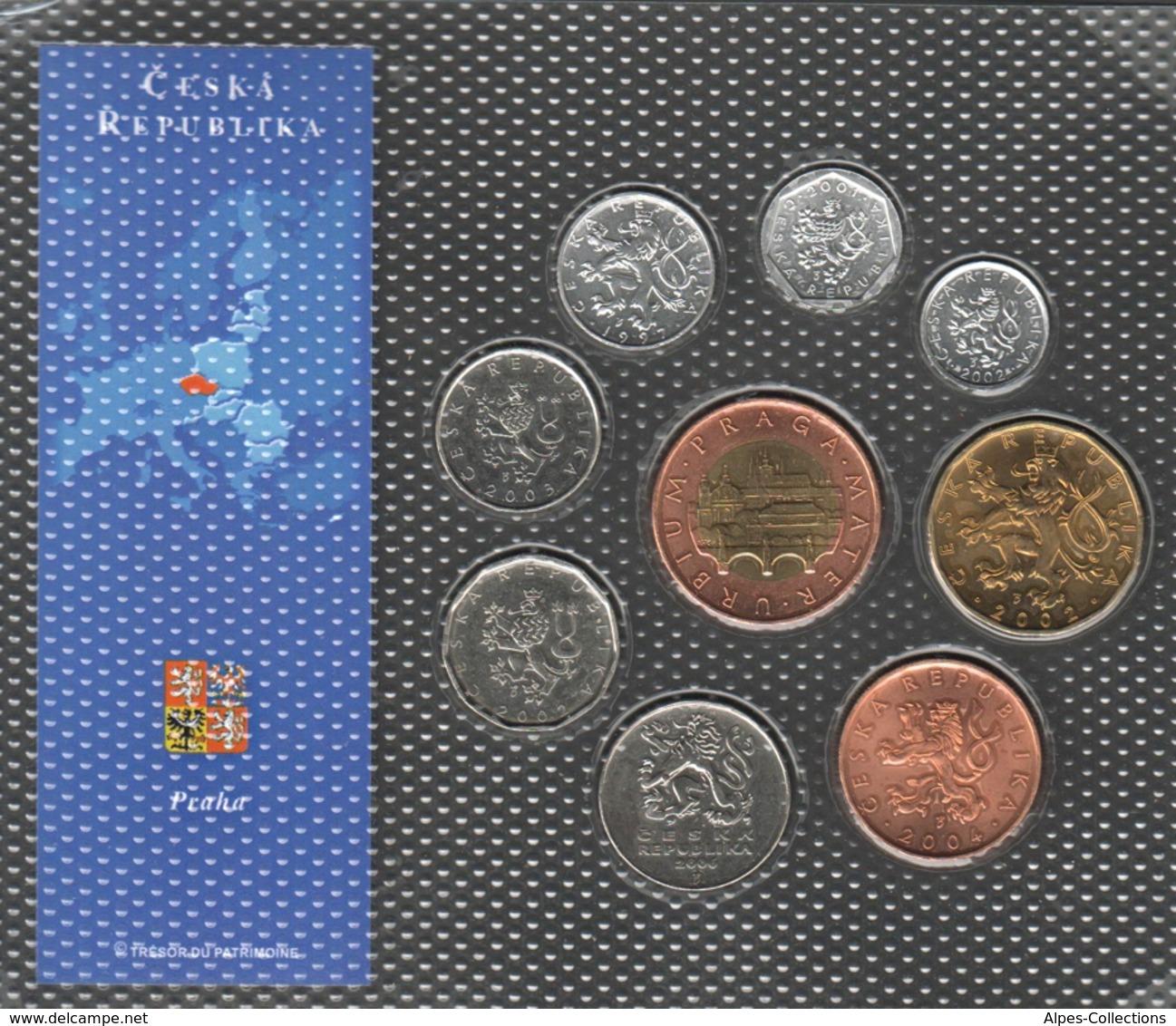 0064 - 'DERNIERES MONNAIES EN EUROPE' Rép Tchèque - 9 Pièces : 10 Haleru à 50 Couronnes - Tchéquie