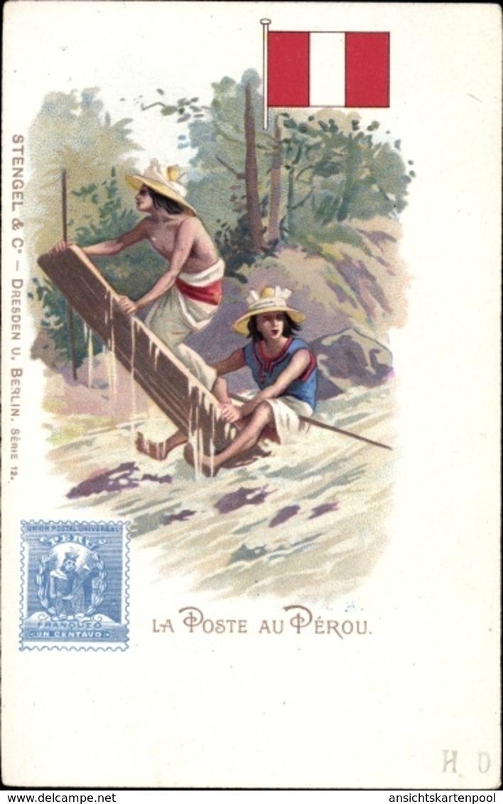 Timbres Cp Peru, La Poste Au Pérou, Peruanische Briefträger - Peru