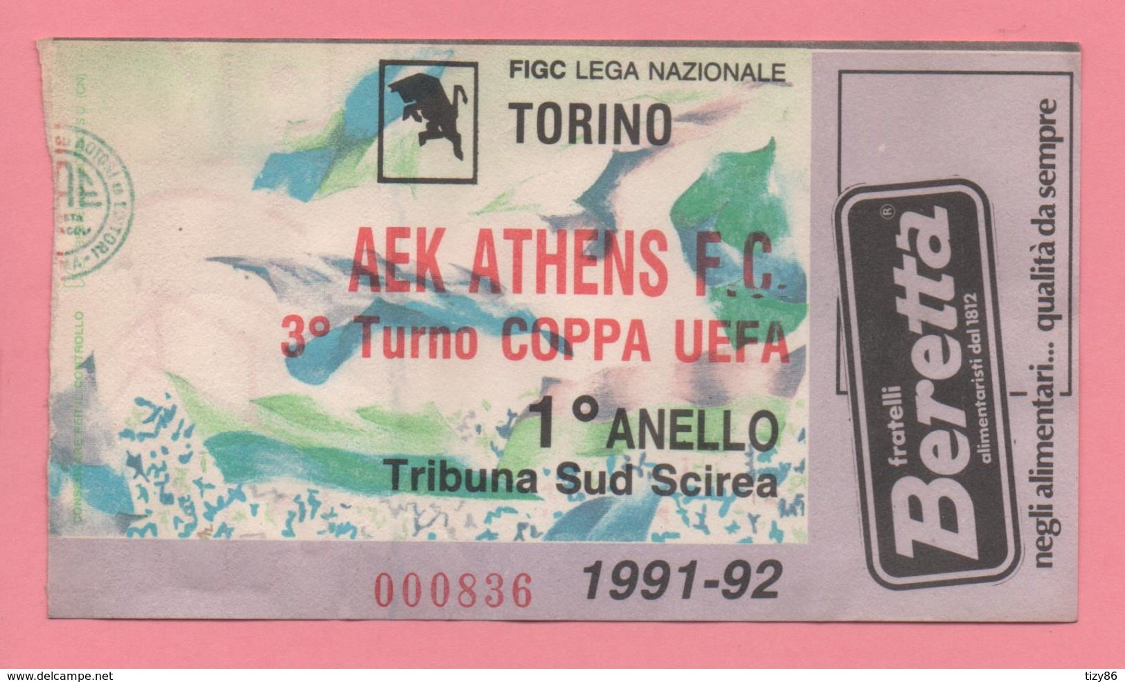Biglietto Ingresso Stadio Torino Aek Athens 1992 - Tickets - Vouchers
