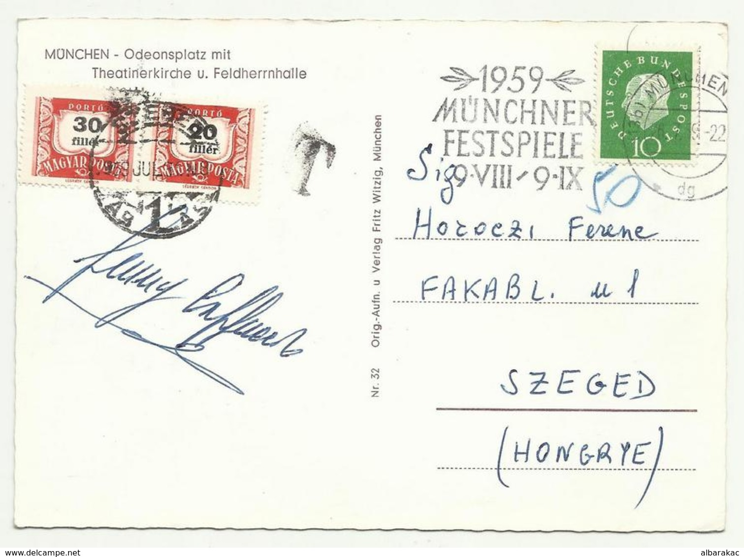 Germany To Hungary Szeged Porto Stamp , Flam Munchen Festspiele , Used 1959 - [7] Federal Republic