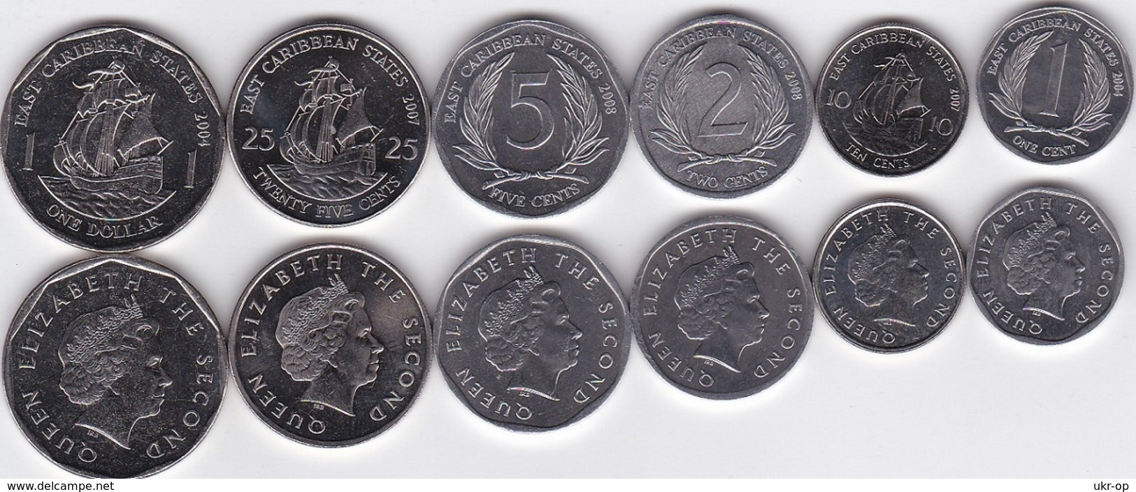 Eastern Caribbean - Set 6 Coins 1 + 2 + 5 + 10 + 25 Cents + 1 Dollar 2004 - 2008 UNC Ukr-OP - Caribe Oriental (Estados Del)