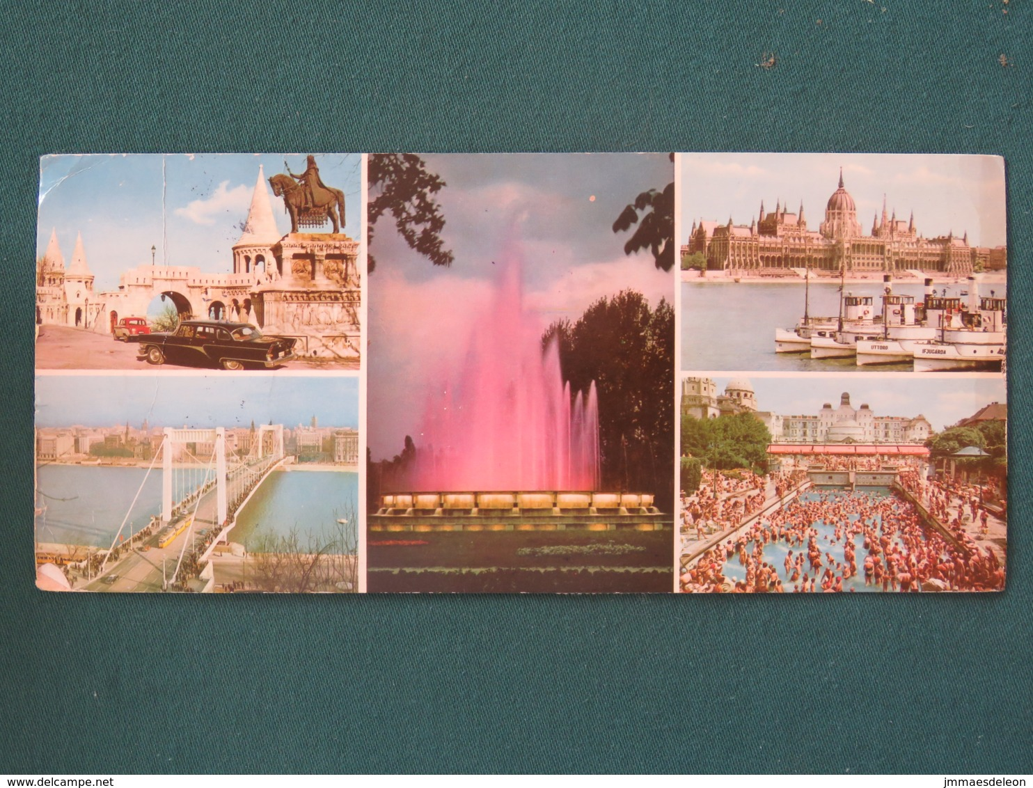 "Hungary 1968 Postacard ""Budapest - Bridge Ships - Church - Pool"" To Holland - Paintings Birds Theatre Tram Bus - Hungary"