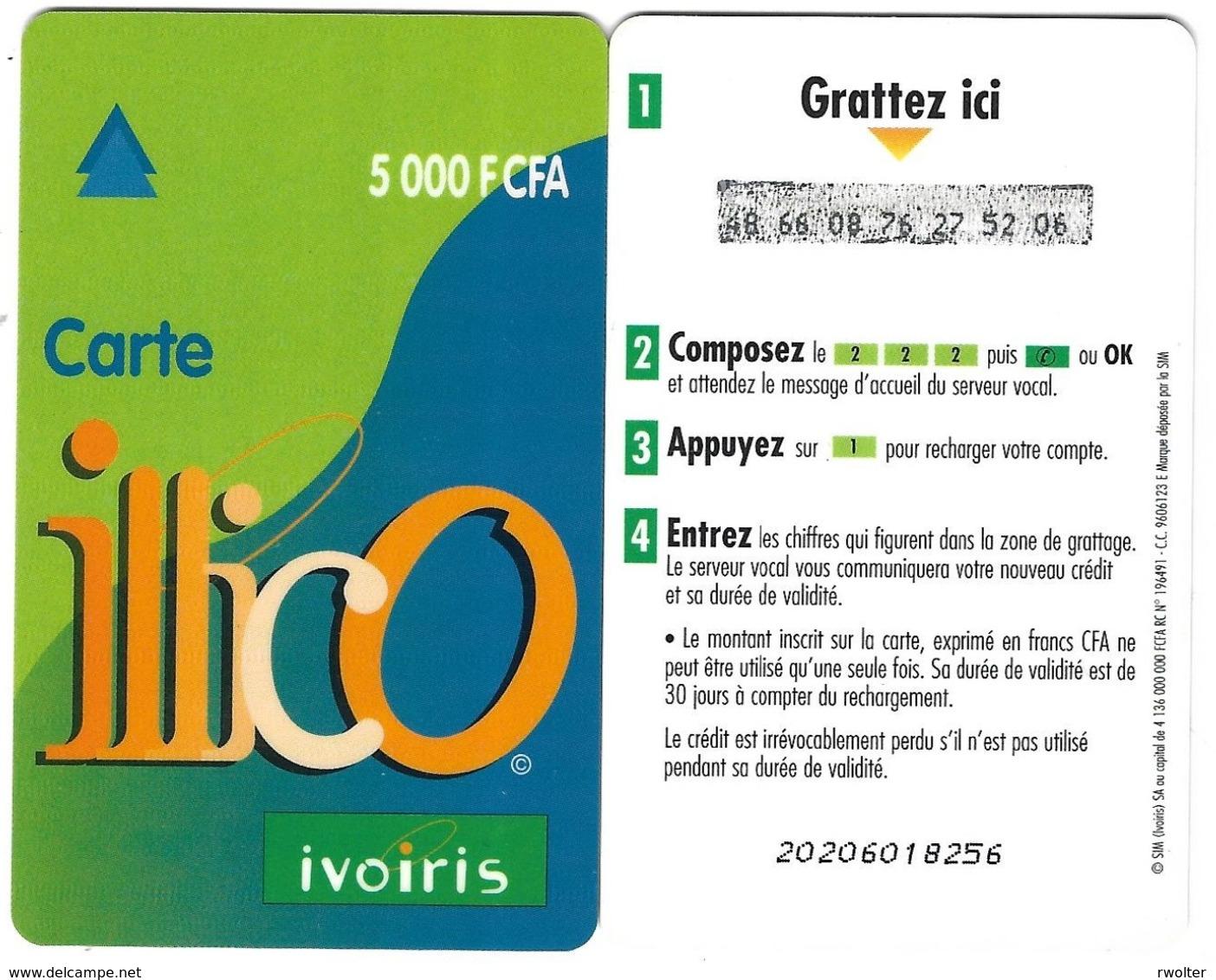 @+ TC Recharge De Cote D'Ivoire - Illico - 5 000 F CFA - Verso 30 Jours - Côte D'Ivoire