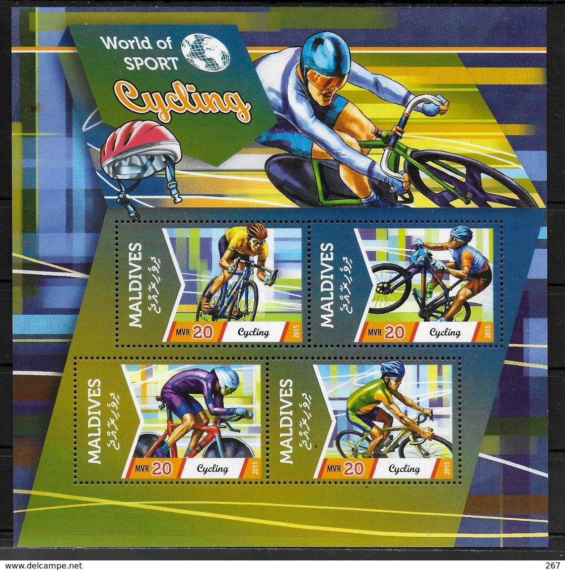 MALDIVES Feuillet  N° ( 2015 ) * *  Cyclisme - Radsport