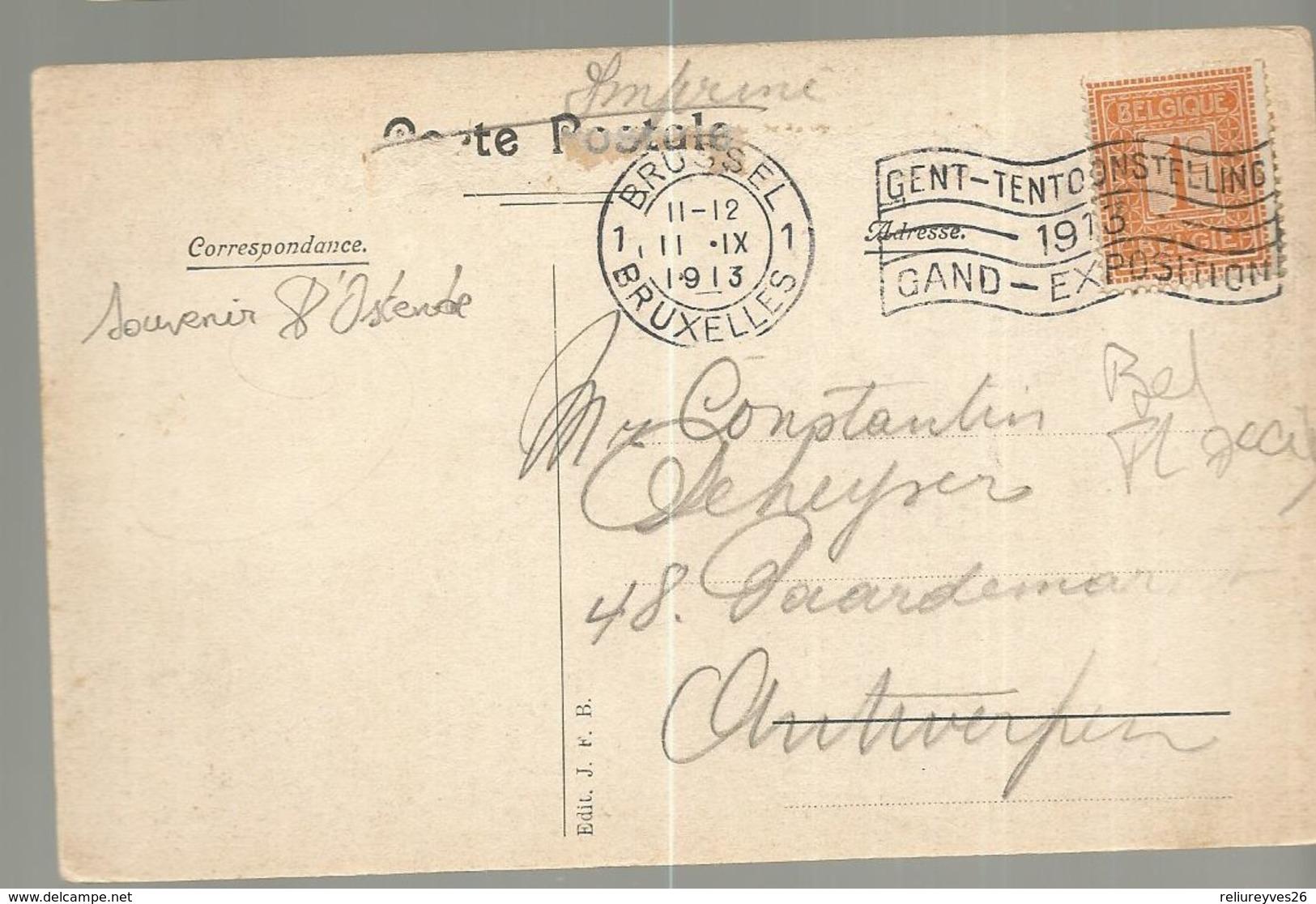 CPA, Belgique , Souvenir D' Ostende, Ed. J.F.B1913 - Oostende