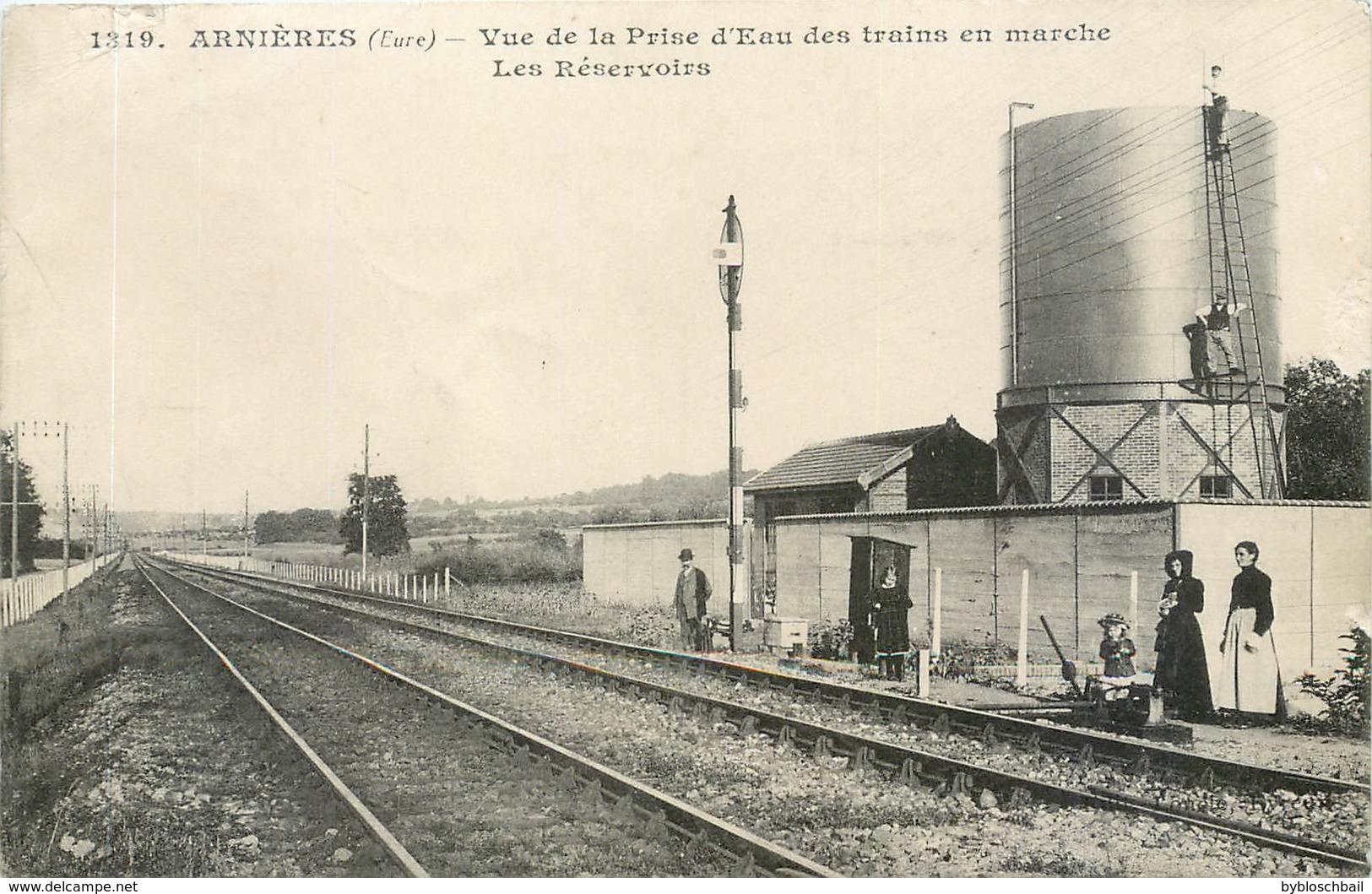 CPA 27 Eure Arnières Sur Iton Vue De La Prise D'Eau Des Trains En Marche Les Réservoirs Chemin De Fer - France