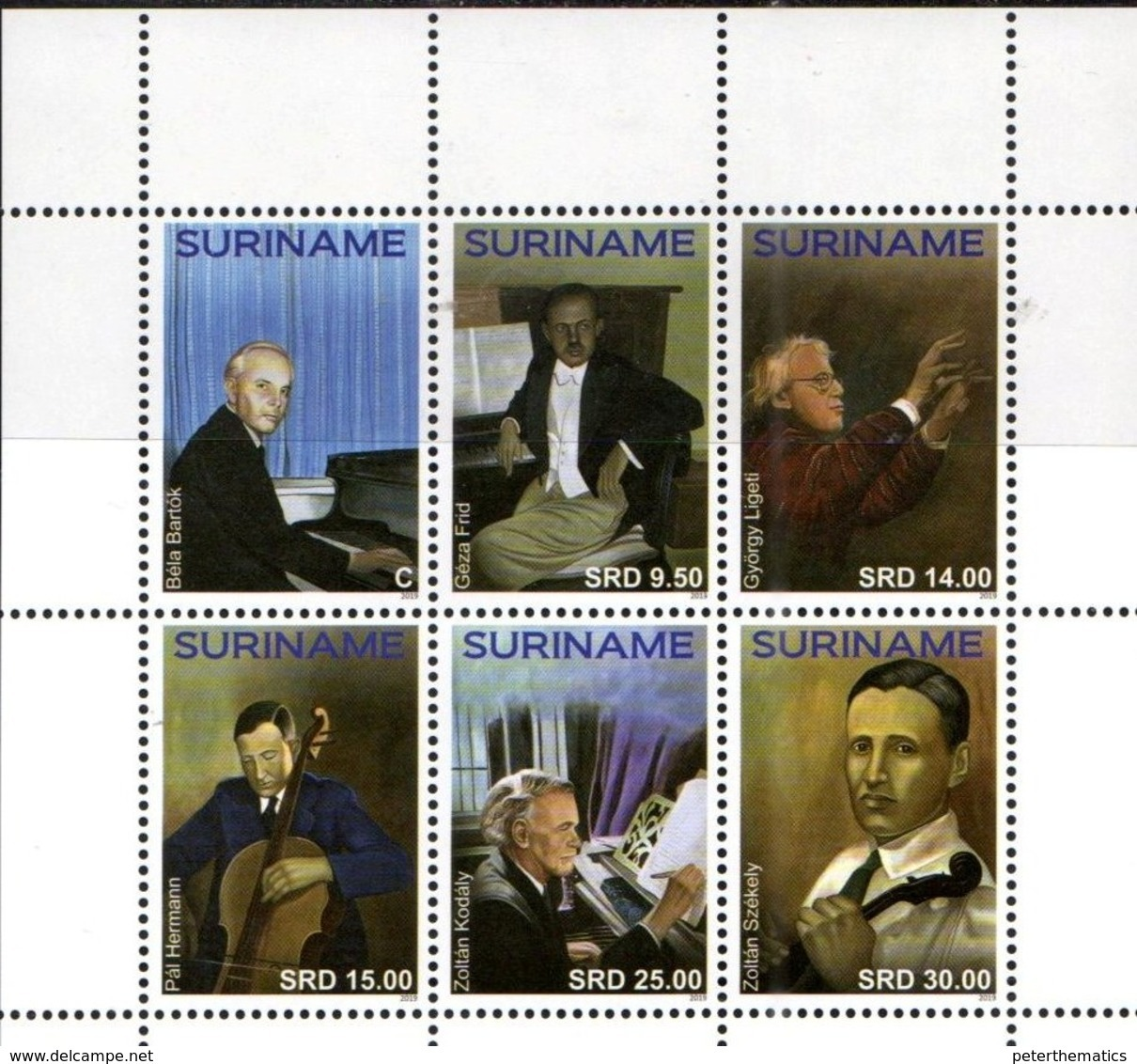 SURINAME, 2019, MNH, MUSIC, HUNGARIAN COMPOSERS, MUSICAL INSTRUMENTS, 6v - Music