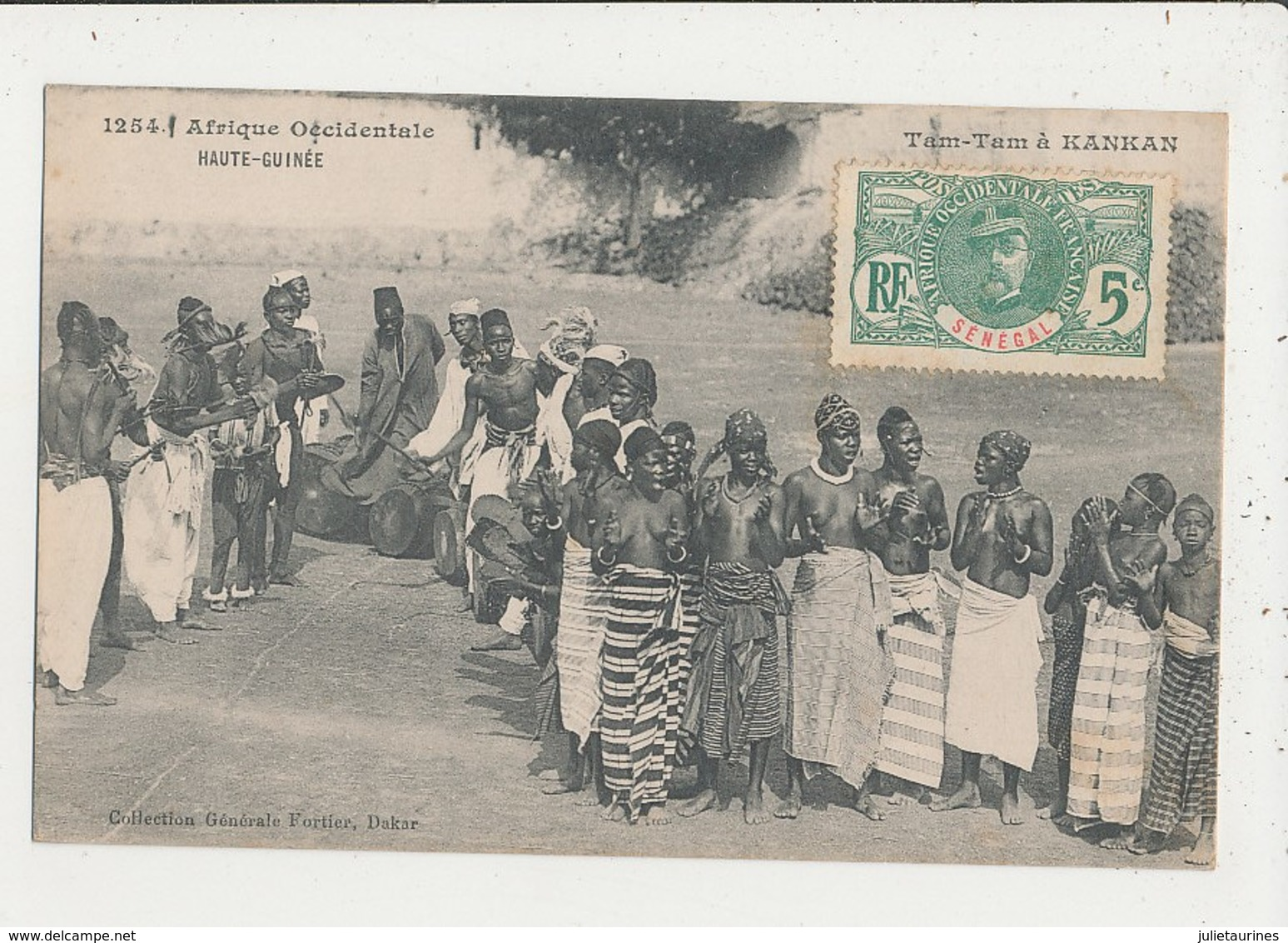 HAUTE GUINEE TAM TAM A KANKAN FEMMES SEINS NU CPA BON ETAT - French Guinea