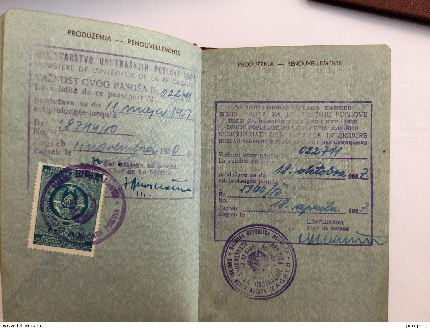 PASSPORT   REISEPASS  PASSAPORTO   PASSEPORT FNRJ   JUGOSLAVIJA  YUGOSLAVIA 1950 VISA TO: AUSTRIA, GERMANY, Switzerland, - Historische Dokumente