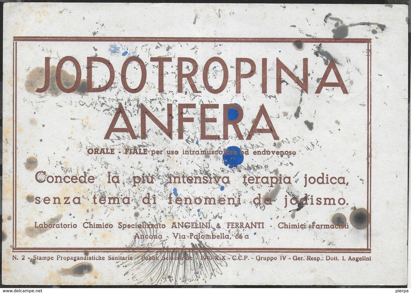 PUBBLICITA' FARMACO ANGELINI & FERRANTI - JODOTROPINA ANFERA -  SU CARTA ASSORBENTE USATA - 20,50X14,50 - Carte Assorbenti