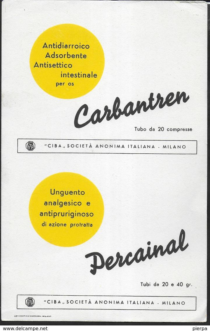 PUBBLICITA' FARMACI CARBANTREN - PERCAINAL CIBA -  SU CARTA ASSORBENTE NUOVA - 22,50X14,50 - Carte Assorbenti