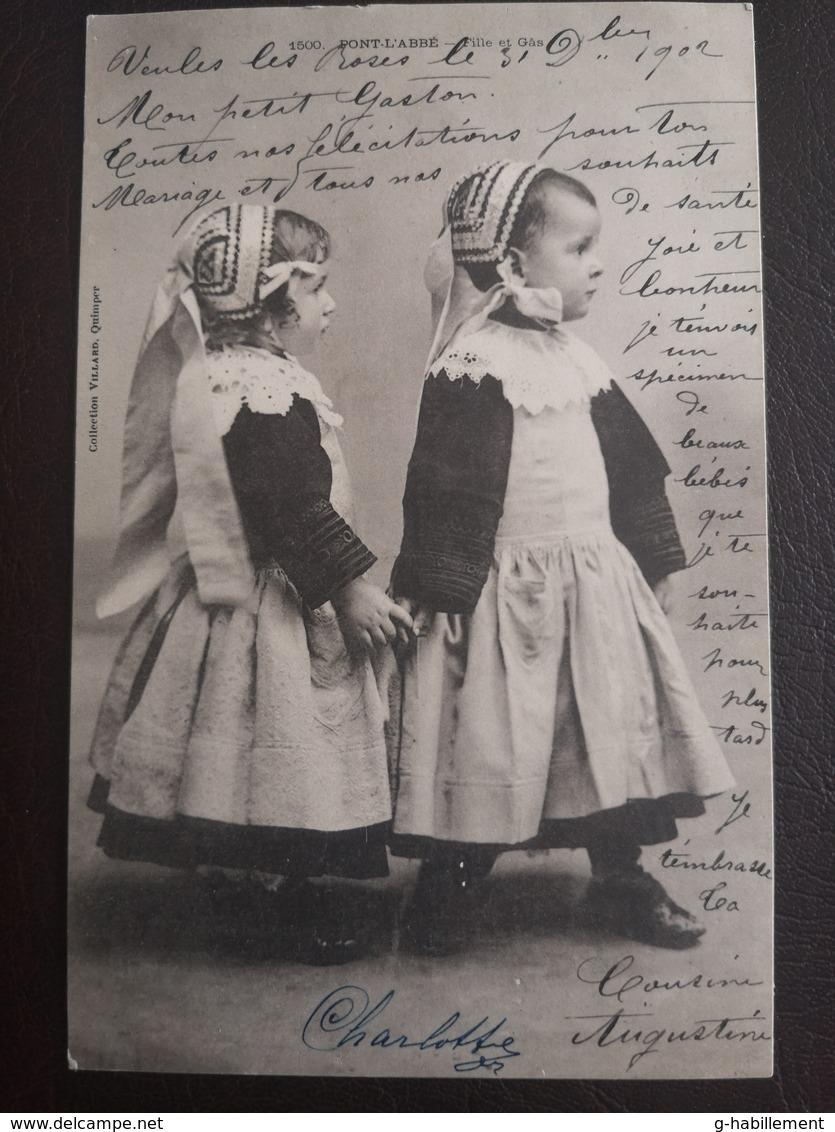 CPA - PONT L'ABBE - FILLE ET GAS (h) - Costumes
