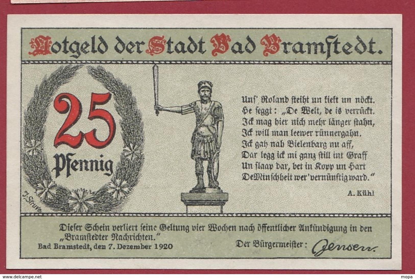 Allemagne 1 Notgeld 25 Pfenning Stadt Bramstedt ( RARE)dans L'état Lot N °4349 - Collections