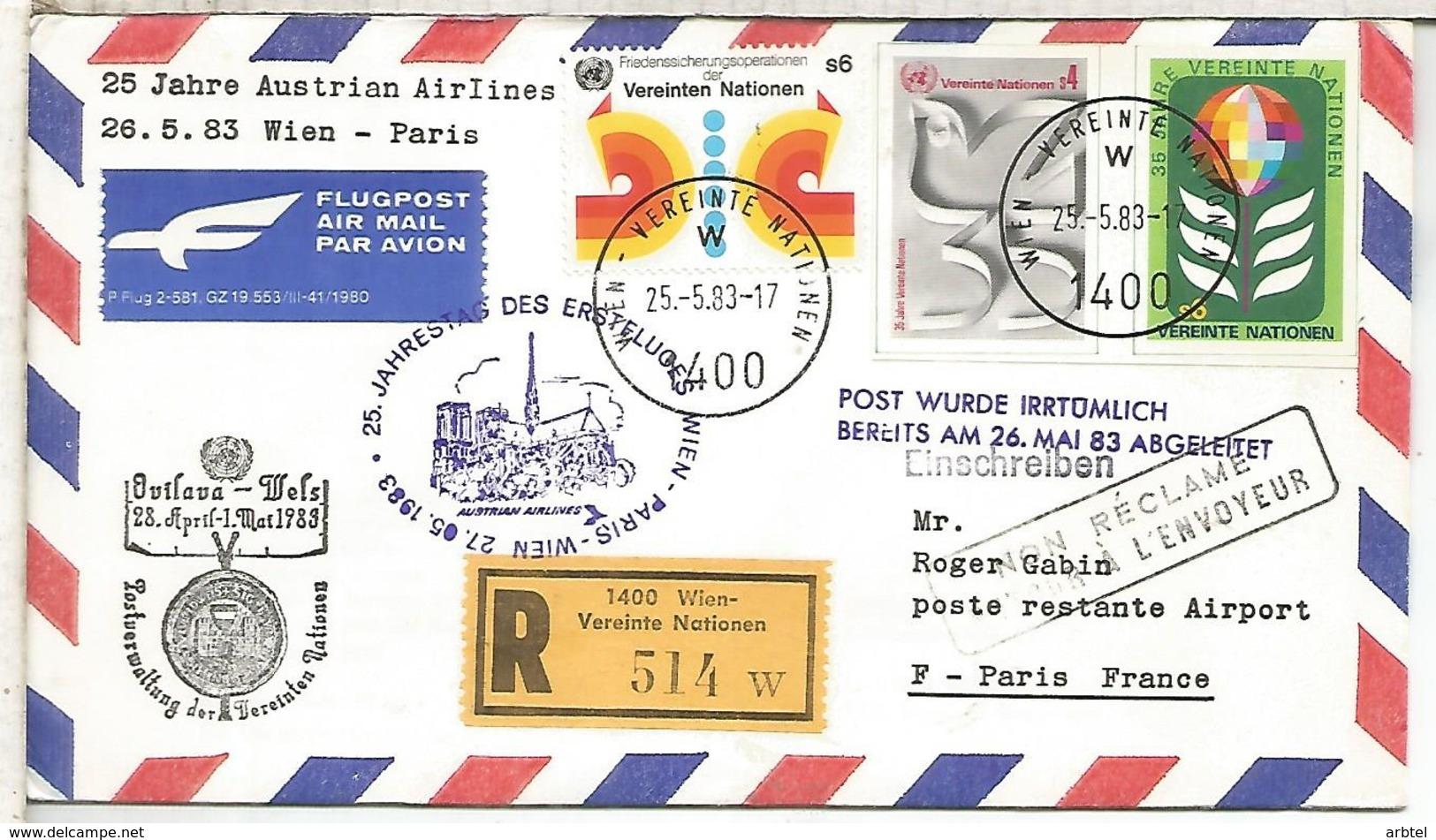 NACIONES UNIDAS WIEN CC CERTIFICADA VUELO WIEN PARIS  1983 AUSTRIAN AIRLINES - Aéreo