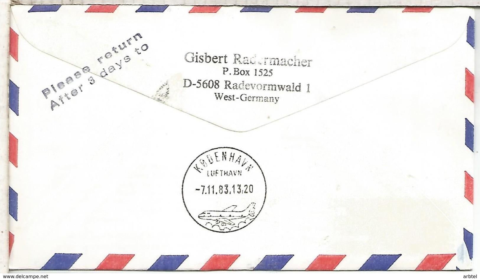 NACIONES UNIDAS WIEN CC CERTIFICADA VUELO WIEN KOPENHAGEN 1983 AUSTRIAN AIRLINES - Aéreo