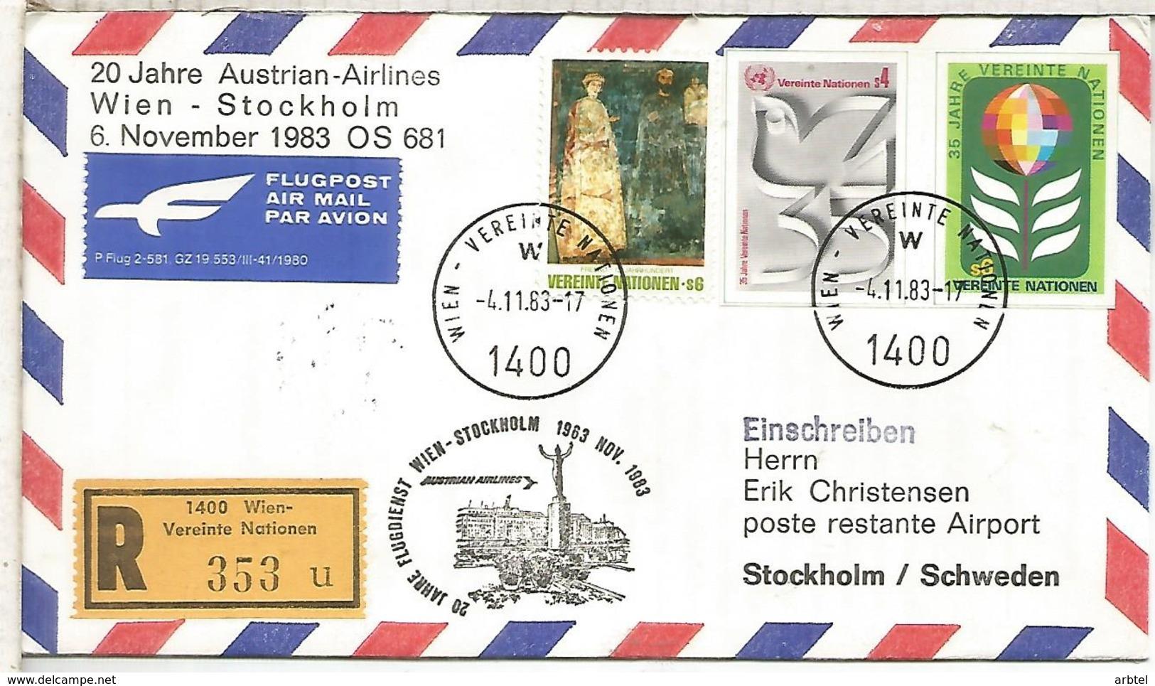 NACIONES UNIDAS WIEN CC CERTIFICADA VUELO WIEN STOCKHOLM 1983 AUSTRIAN AIRLINES - Aéreo