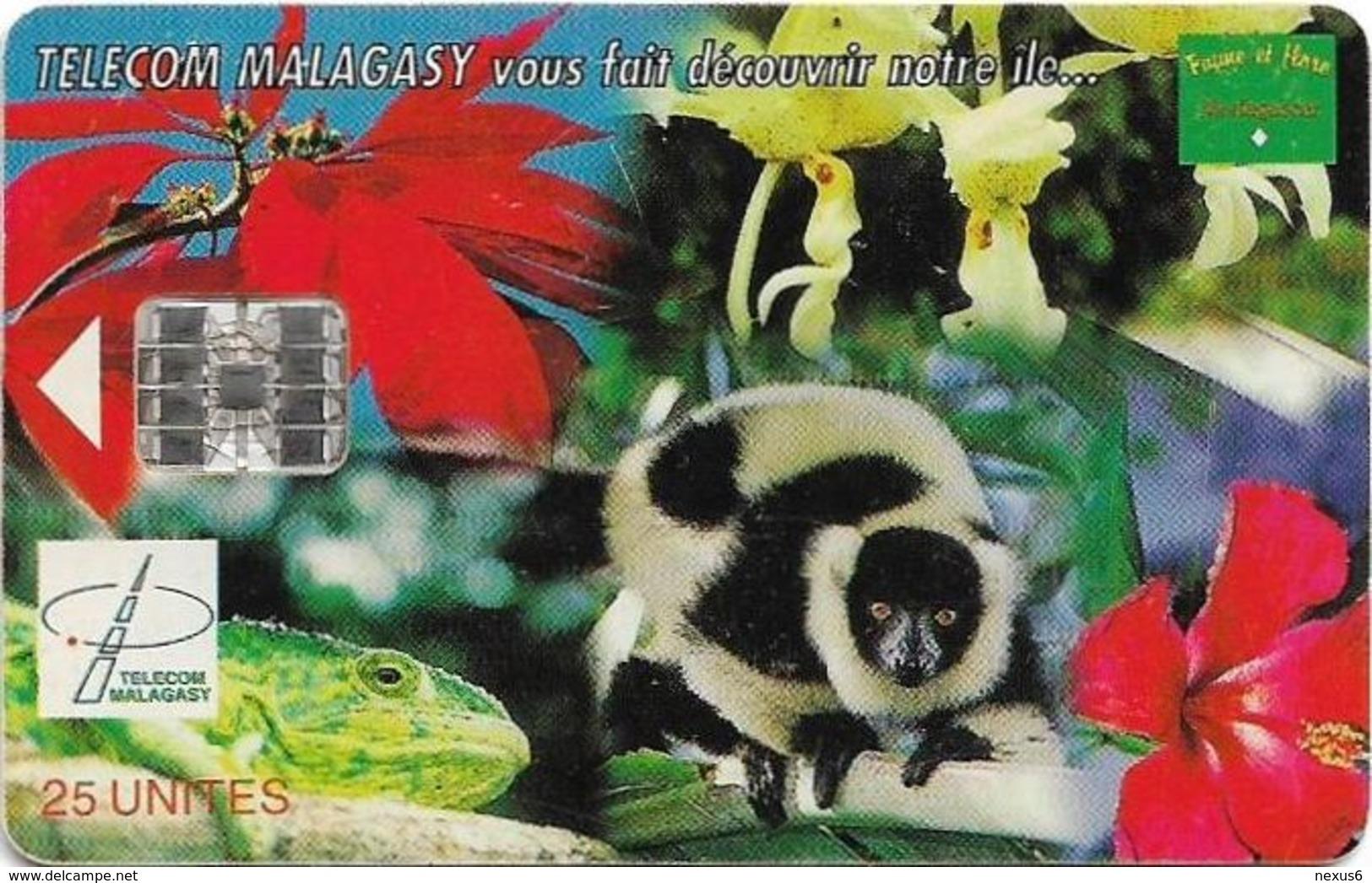 Madagascar - Telecom Malagasy - Nature Of Madagascar (Animals & Flowers) - 25Units, SC7, 400.000ex, Used - Madagaskar