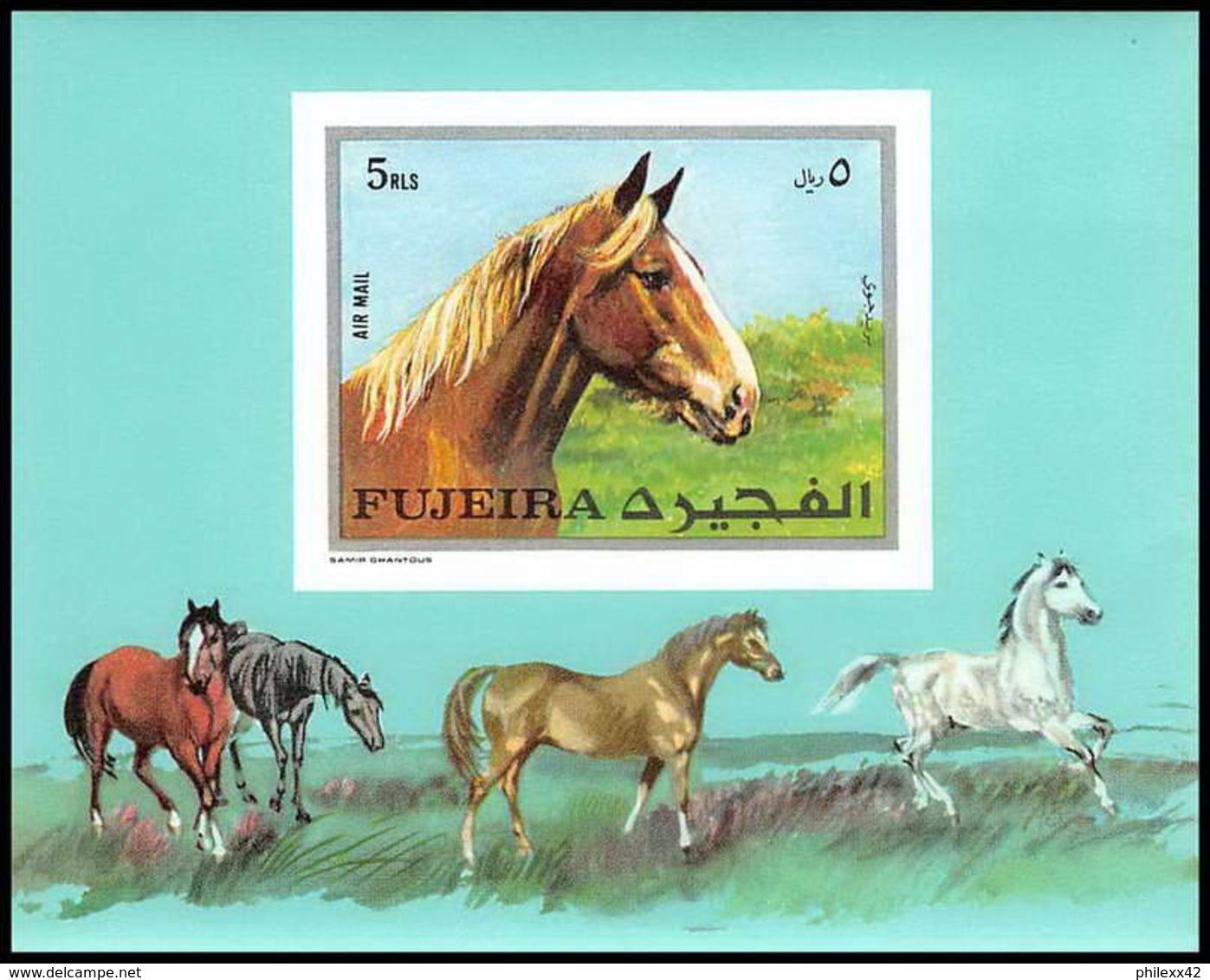 Fujeira - 1564/ BLOC N° 33 B Cheval (chevaux Horse Horses) ** MNH Non Dentelé ** (imperforate) - Fujeira