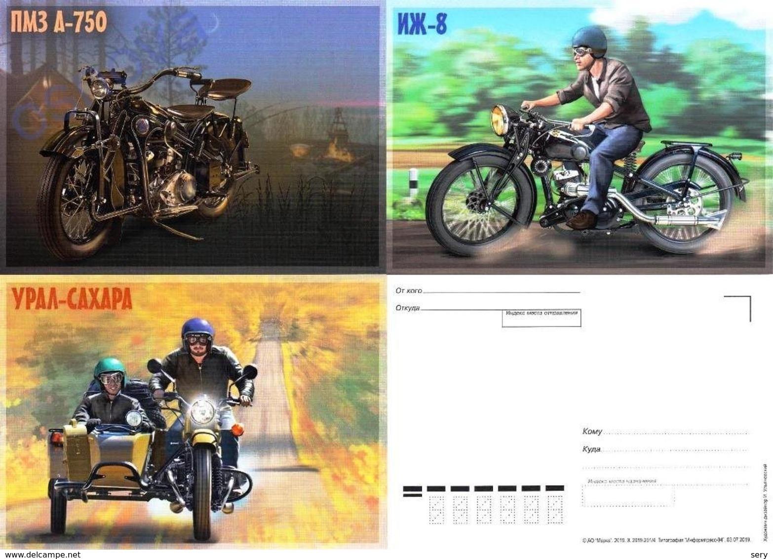 Russia 2019 3 Postal Cards Russian Motorcycles Motod Moto - Motorräder
