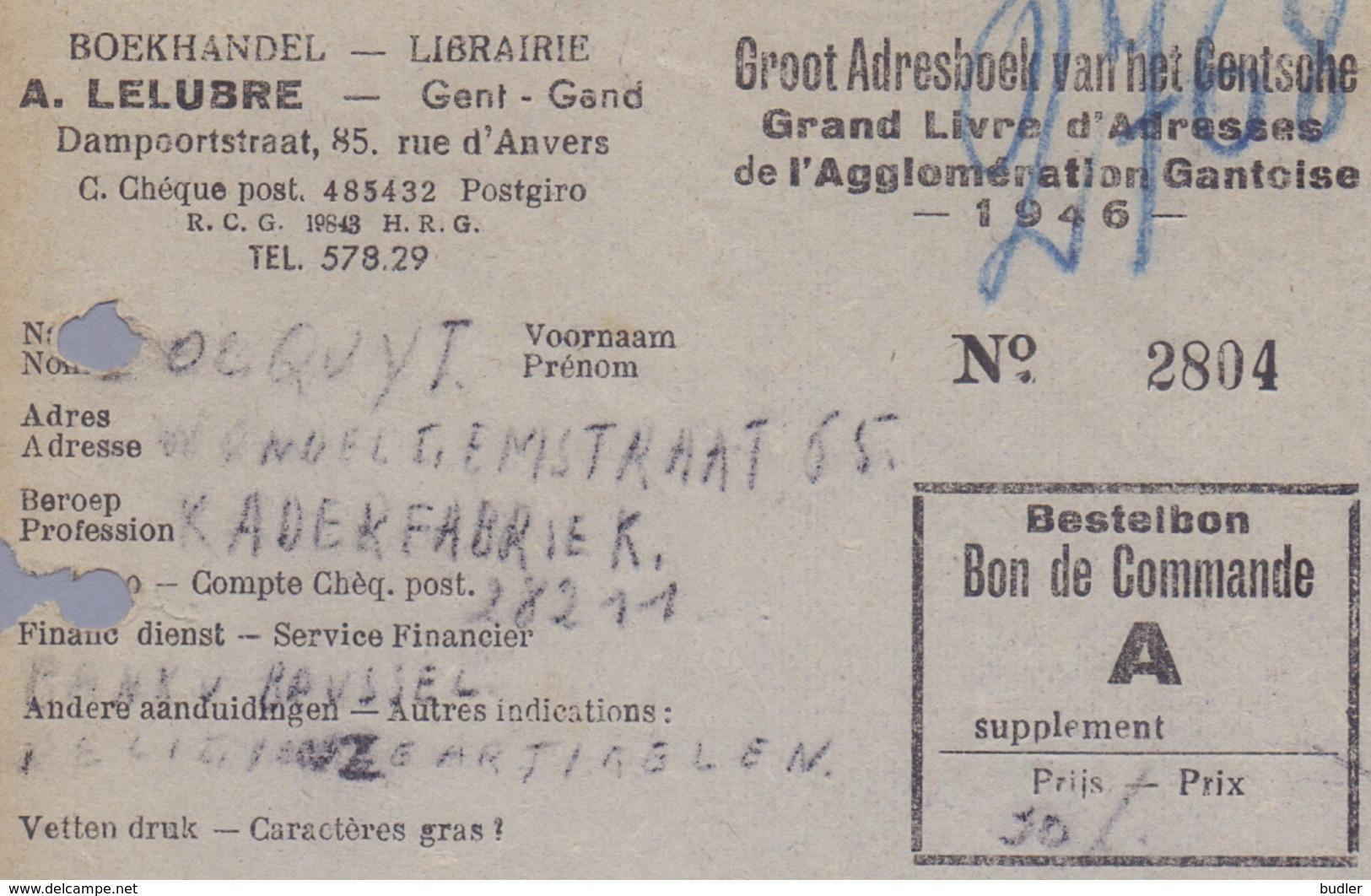 1946: Bestelbonnen Van ## Groot Adresboek Van Het Gentsche /  Grand Livre D'Adresses De L'Agglomération Gantoise ## :... - Printing & Stationeries