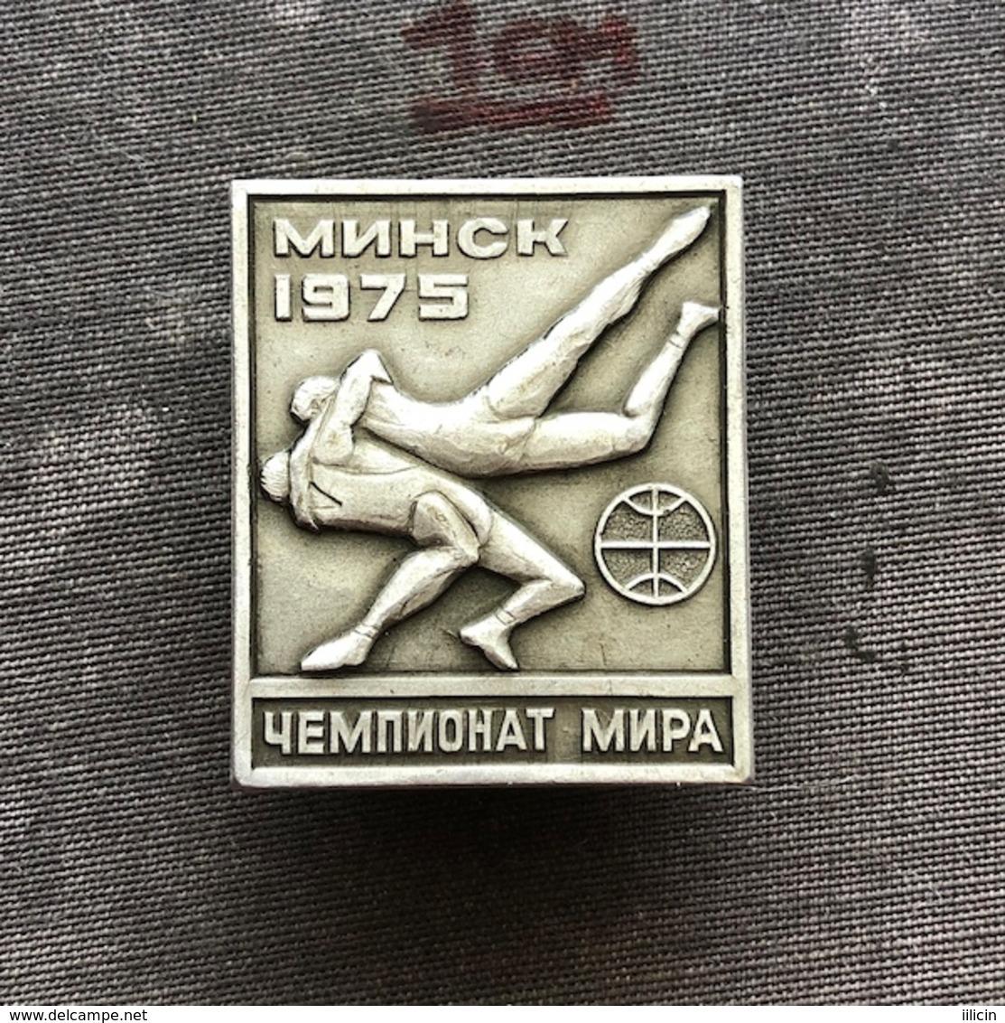 Badge Pin ZN008610 - Wrestling World Championships Soviet Union (USSR SSSR CCCP) Belarus Minsk 1975 - Worstelen