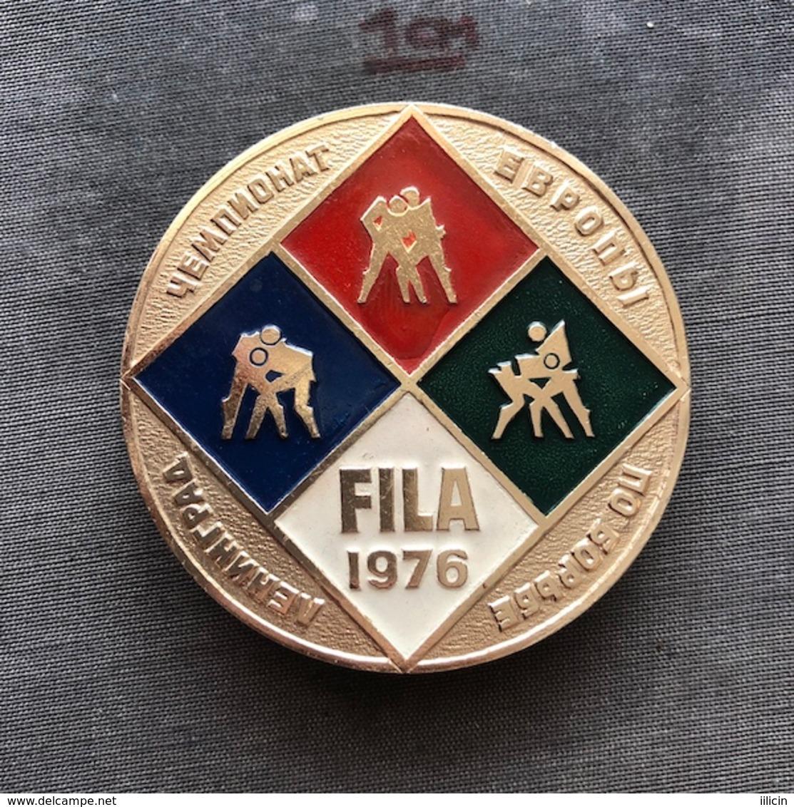 Badge Pin ZN008622 - Wrestling FILA European Championships Soviet Union USSR CCCP Russia Leningrad Sankt-Peterburg 1976 - Worstelen