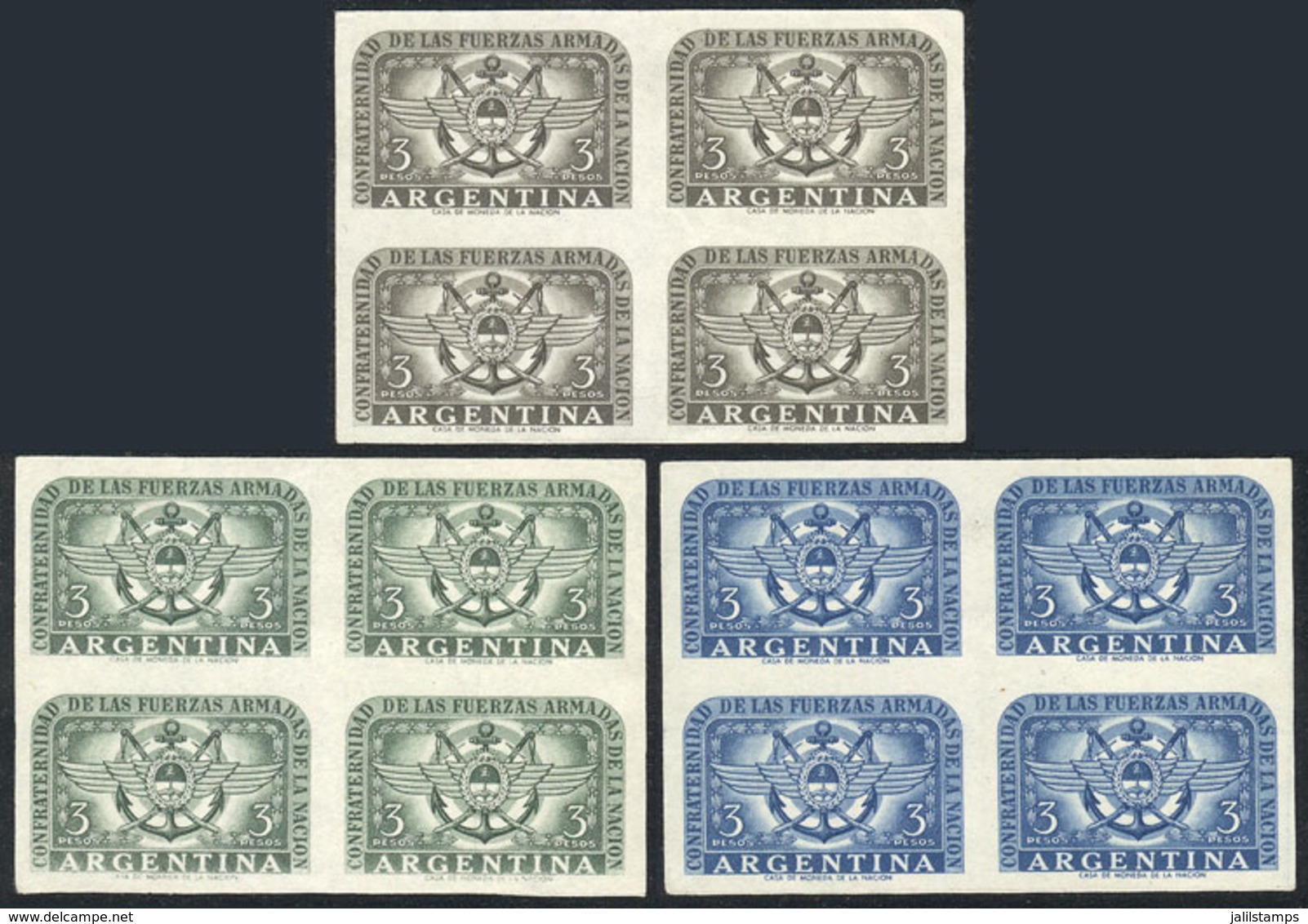 ARGENTINA: GJ.1061, 1955 Armed Forces, PROOFS On Ordinary Paper, BLOCKS OF 4 In The 3 Known Colors, VF Quality! - Argentina