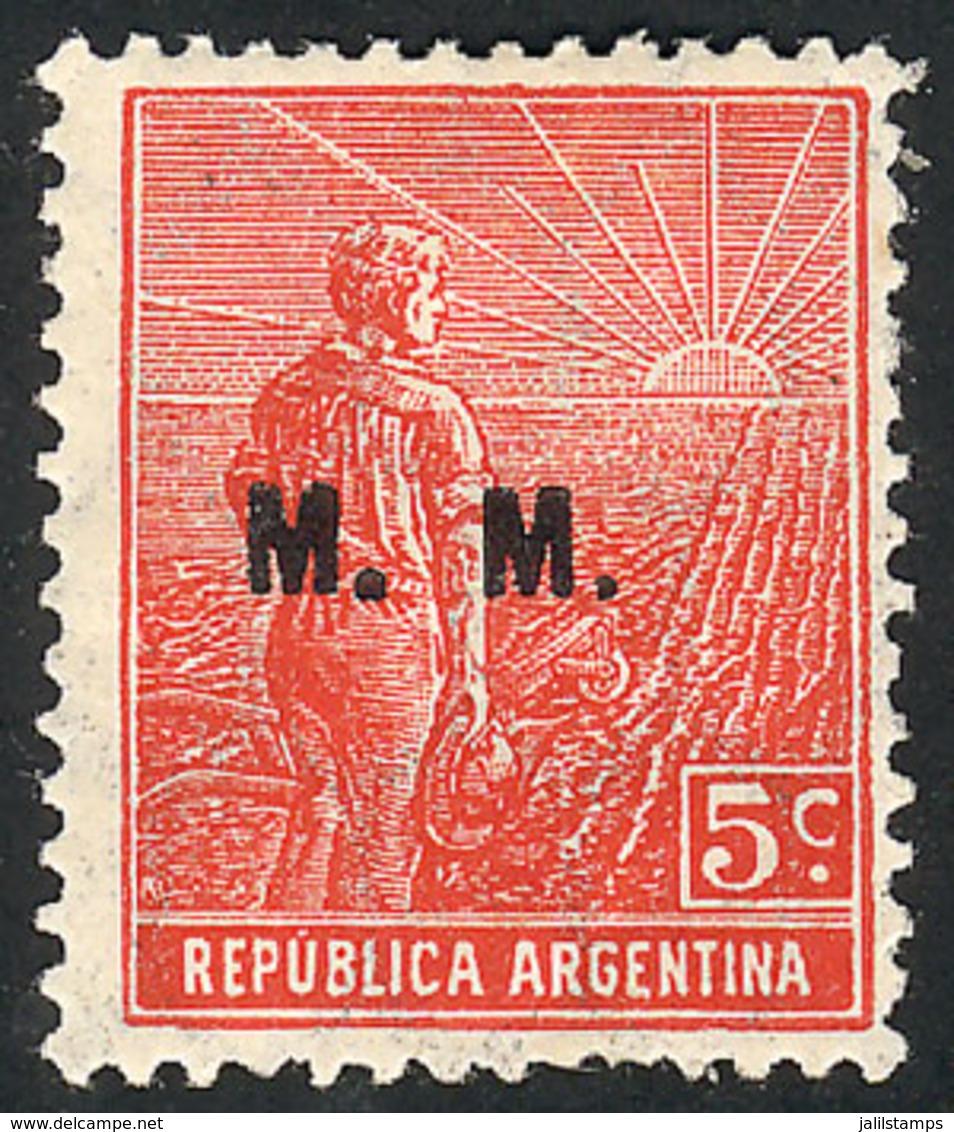 ARGENTINA: GJ.456, 1915 5c. Plowman, Italian Paper With Vertical Honeycomb Wmk, Perf 13½x12½, Rare! - Officials
