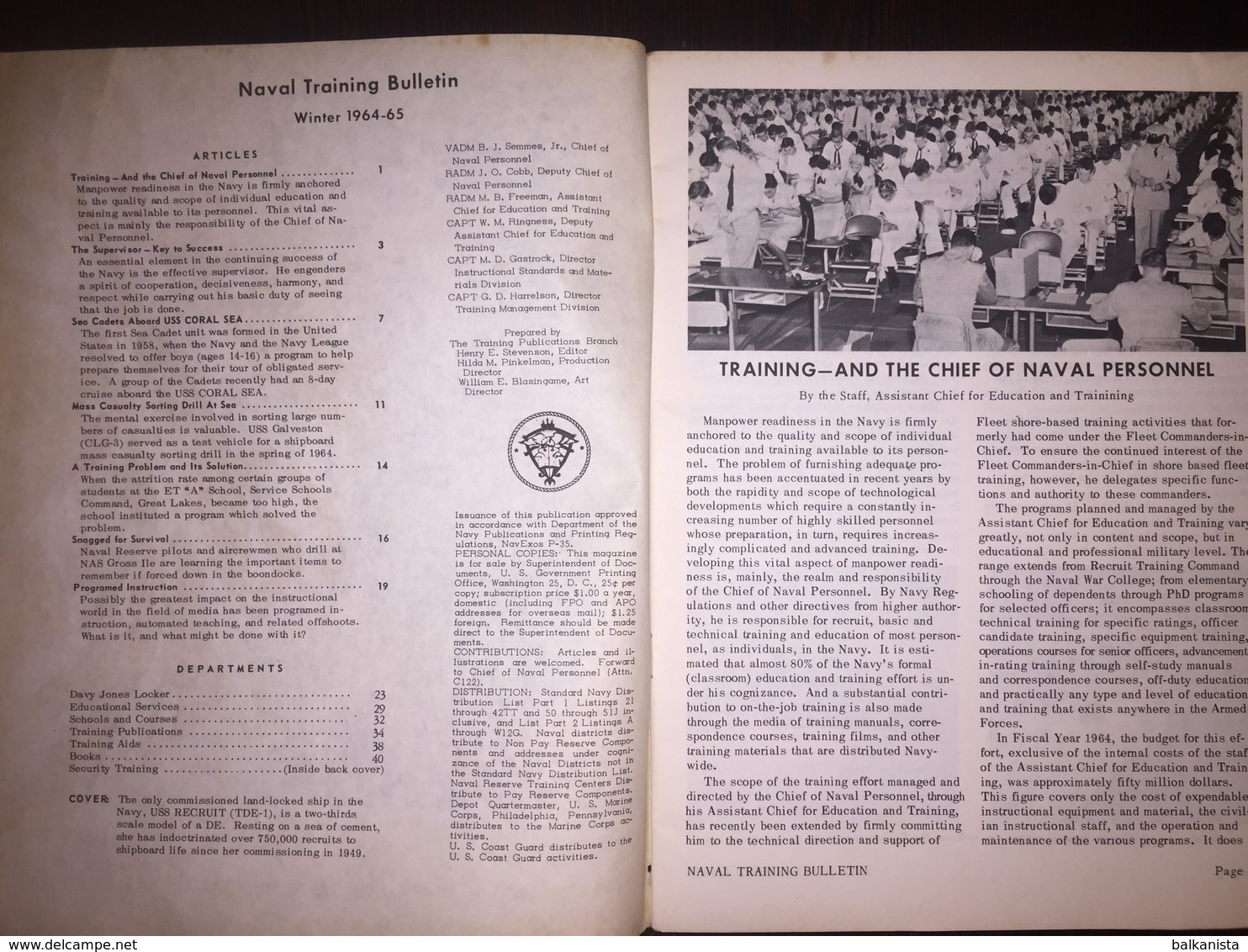 American US Army Naval Training Bulletin Winter 1964-1965 - Naval Institute - Forces Armées Américaines