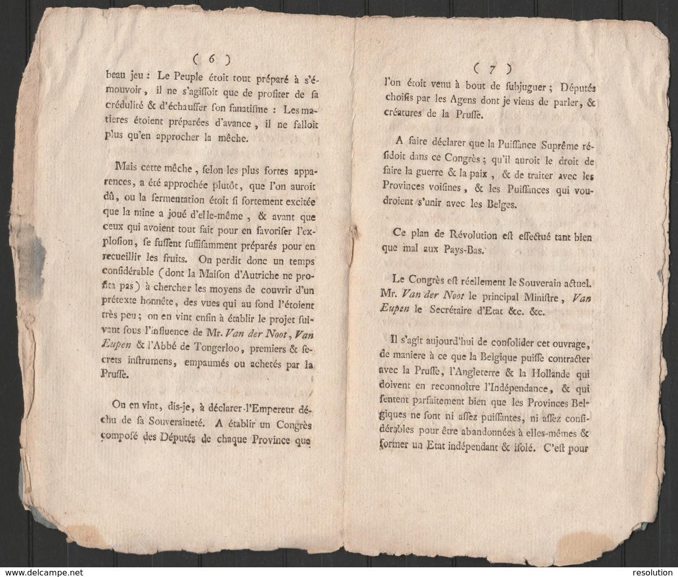 """Livret """"AVIS AUX LIEGEOIS Par UN EX-MINISTRE 1790"""" (12 Pages) - Documents Historiques"""