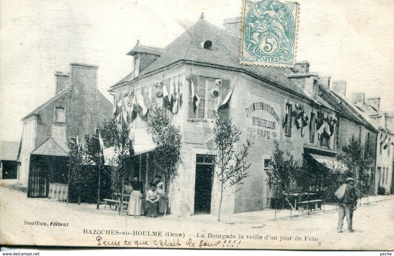 N°74465 -cpa Bazoches Sur Houlme -la Bourgade Laveille D'un Jour De Fête- - Altri Comuni
