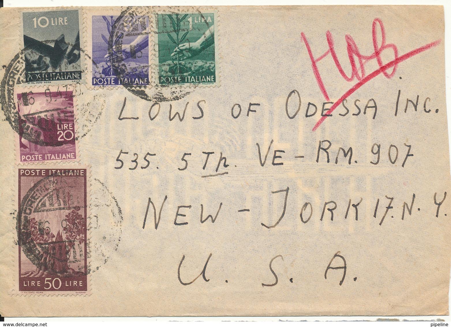 Italy Cover Sent To USA 16-9-1947 - 6. 1946-.. Repubblica