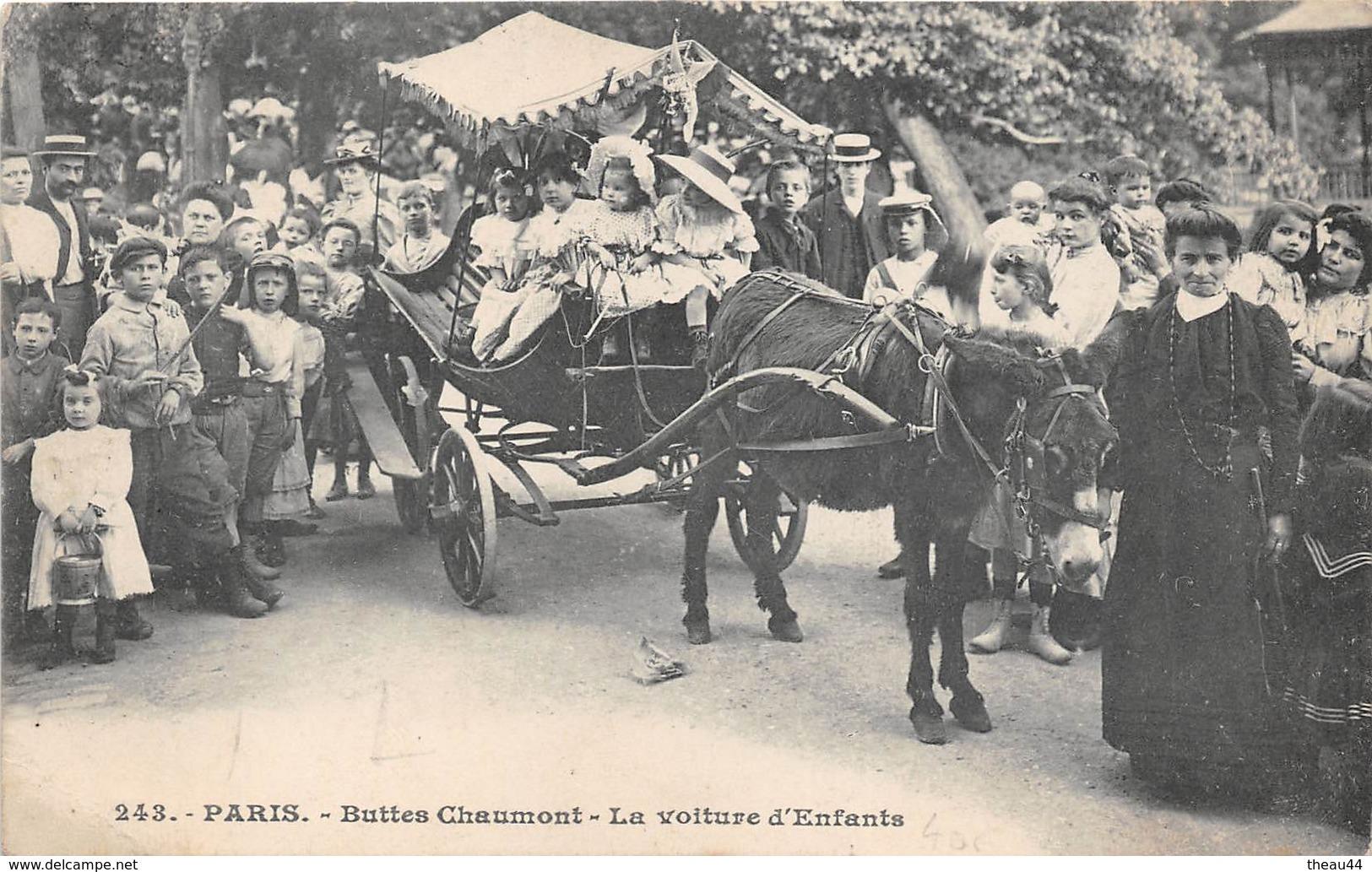 ¤¤    -    PARIS  -  Buttes-Chaumont  -  La Voiture D'Enfants  -  Promenade à Ane   -  ¤¤ - Arrondissement: 19