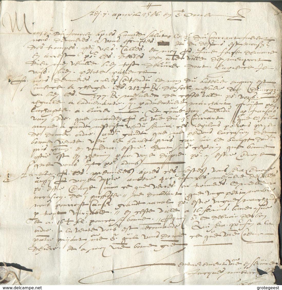 LAC De St-OMER Le 7 Avril 1586 Vers Lille + Me,tion Amunscrite, Cachet De Cire Et Cordelette Au Verso.  TB Et R. - 14456 - Postmark Collection (Covers)