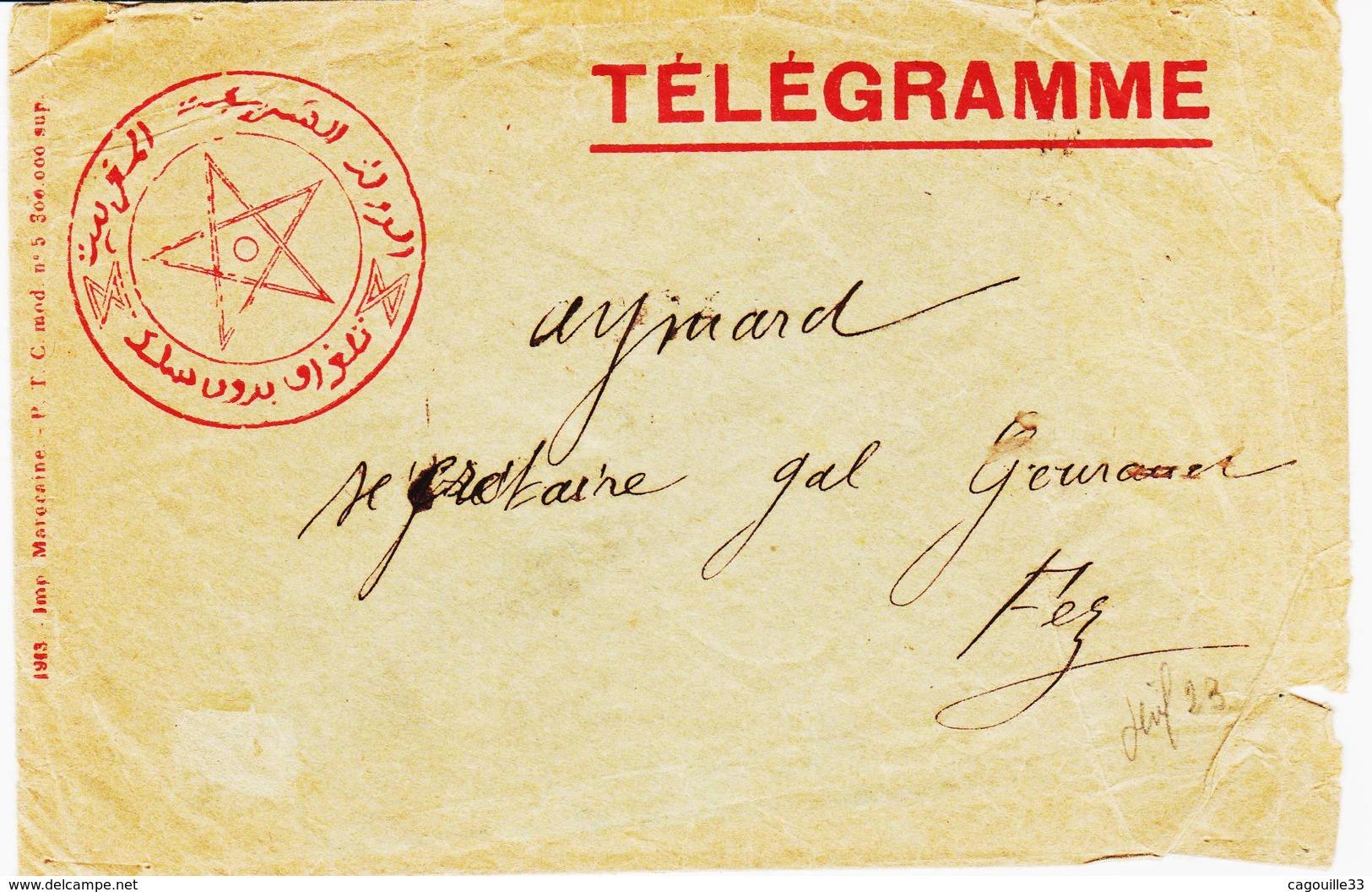 MAROC, Enveloppe Telegramme     TB - Marruecos (1891-1956)
