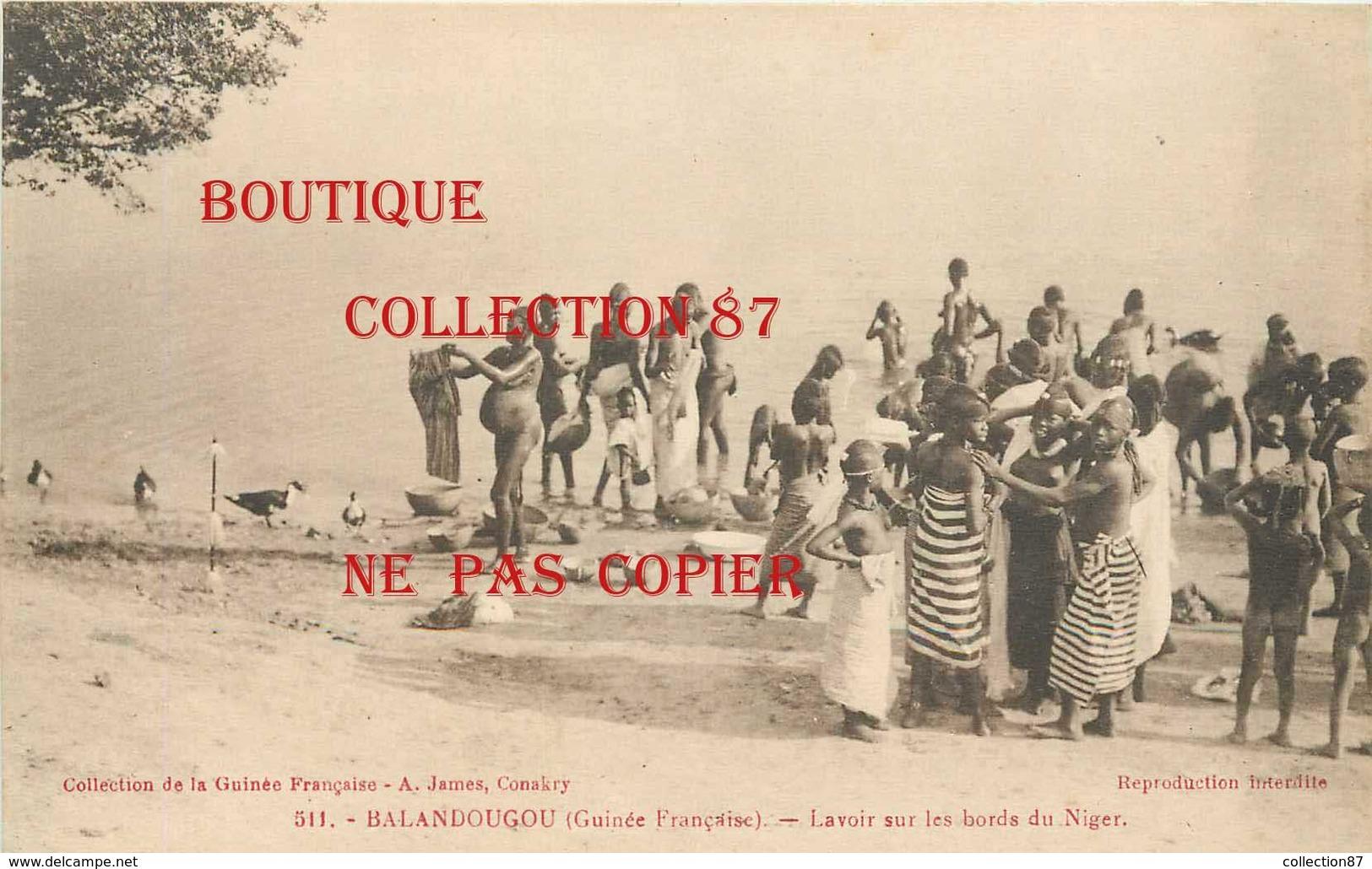 ☺♦♦ GUINEE - BALANDOUGOU < LAVOIR Sur Le NIGER - JEUNE FILLE LAVEUSE Aux SEINS NUS - BAIN BATH < N° 511 Edition A. James - French Guinea