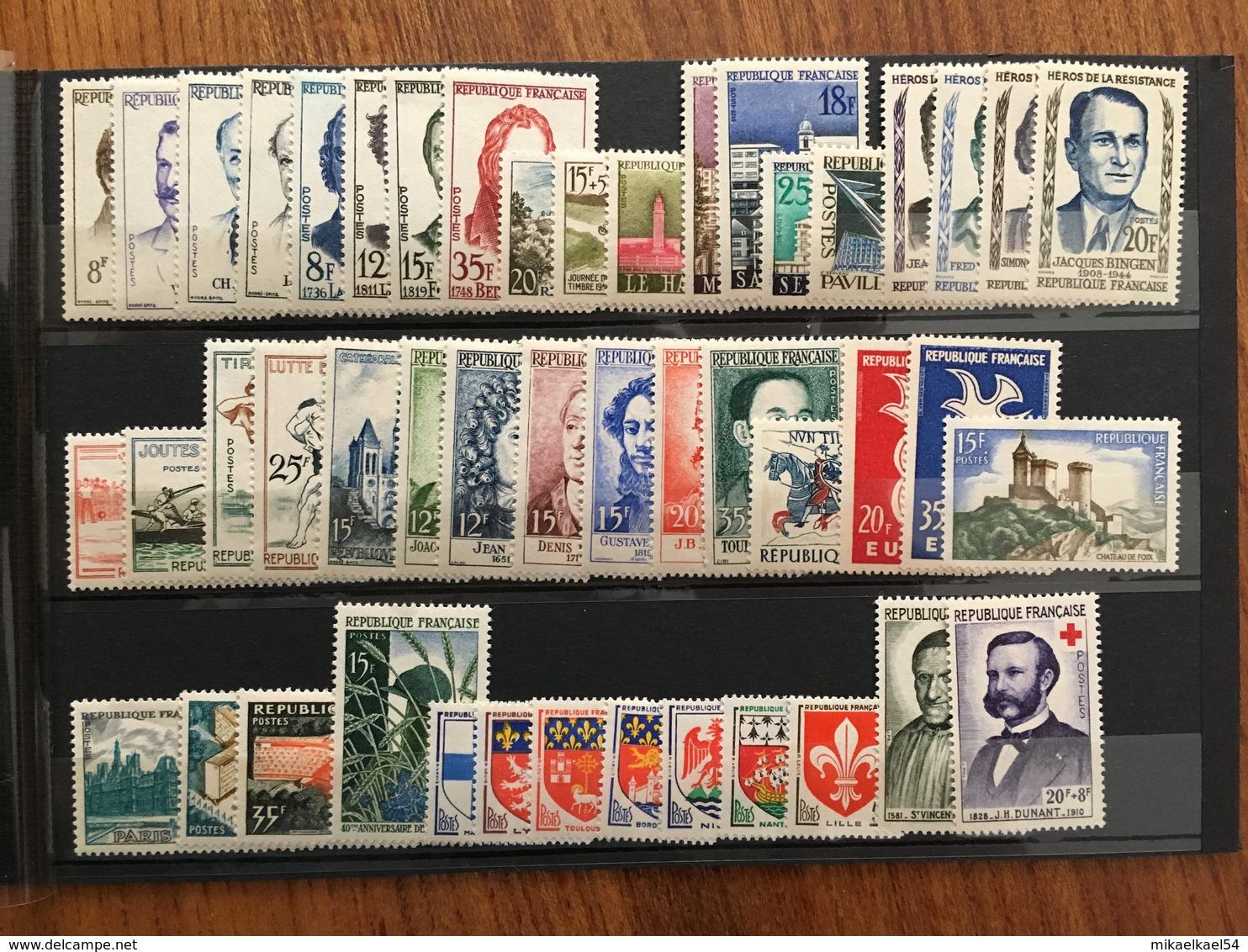 FRANCE Année Complète 1958 - YT N° 1142 à 1188 - 47 Timbres Neufs Sans Charnière - 1950-1959