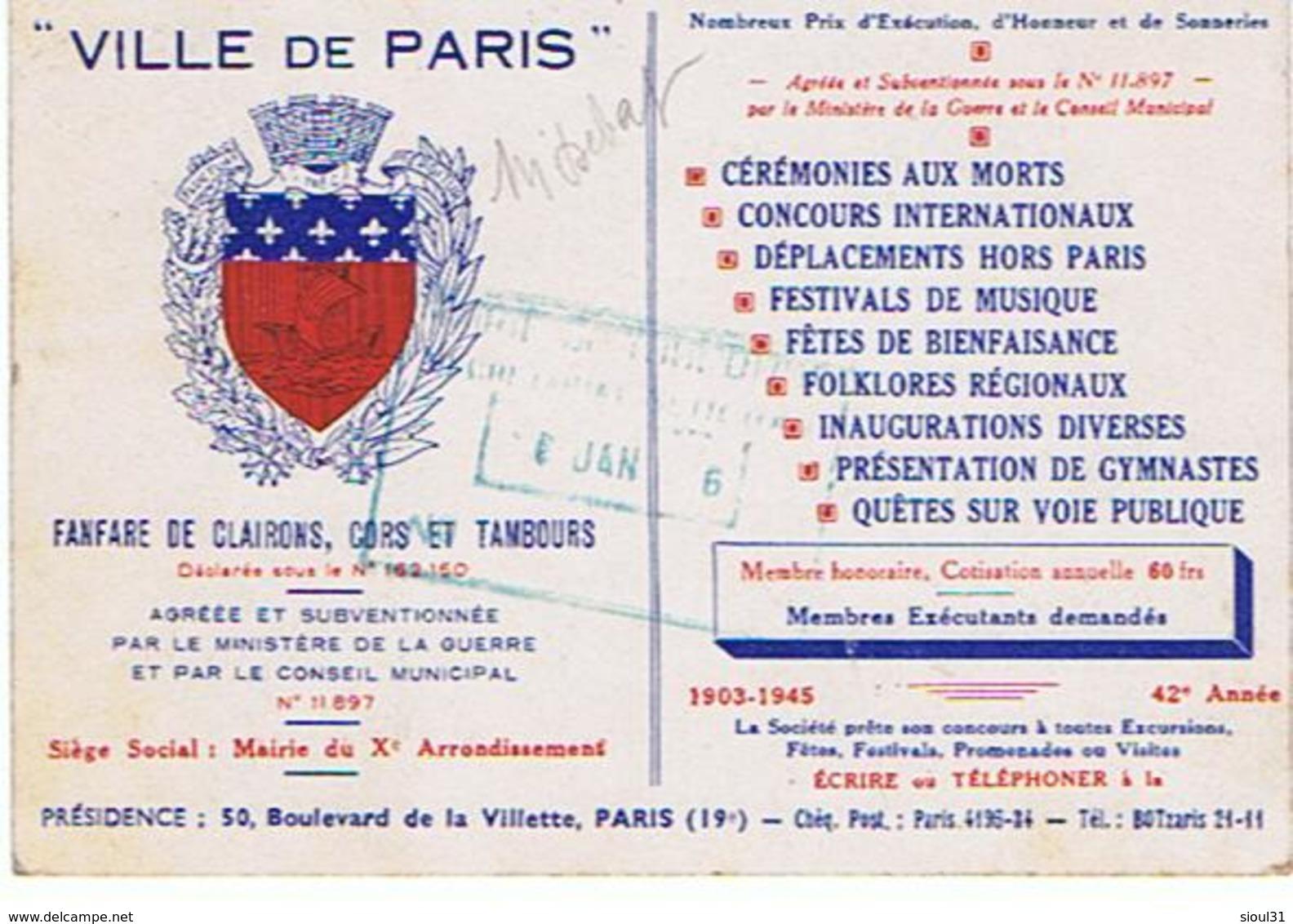75 Paris  19° Fanfare De La Ville De Paris 50bd La Villette + Tampon Z592 - Arrondissement: 19