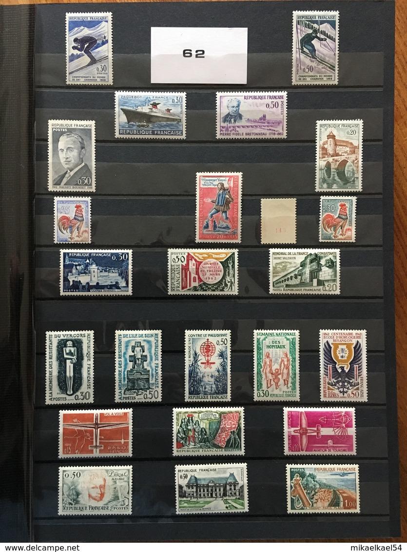 FRANCE Année Complète 1962 - YT N° 1325 à 1367 (+1331Ab) - 50 Timbres Neufs Sans Charnière - France