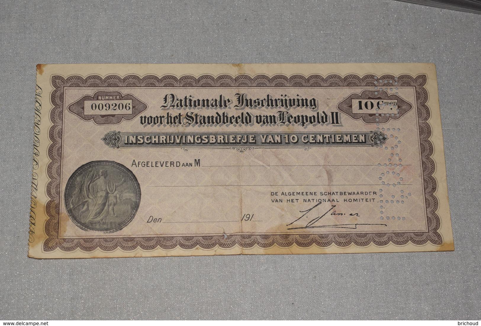 Souscription Nationale Pour Le Monument Léopold II 10 Cmes Inschrijving Voor Het Standbeeld Vierge à Partir 1910 - Altri