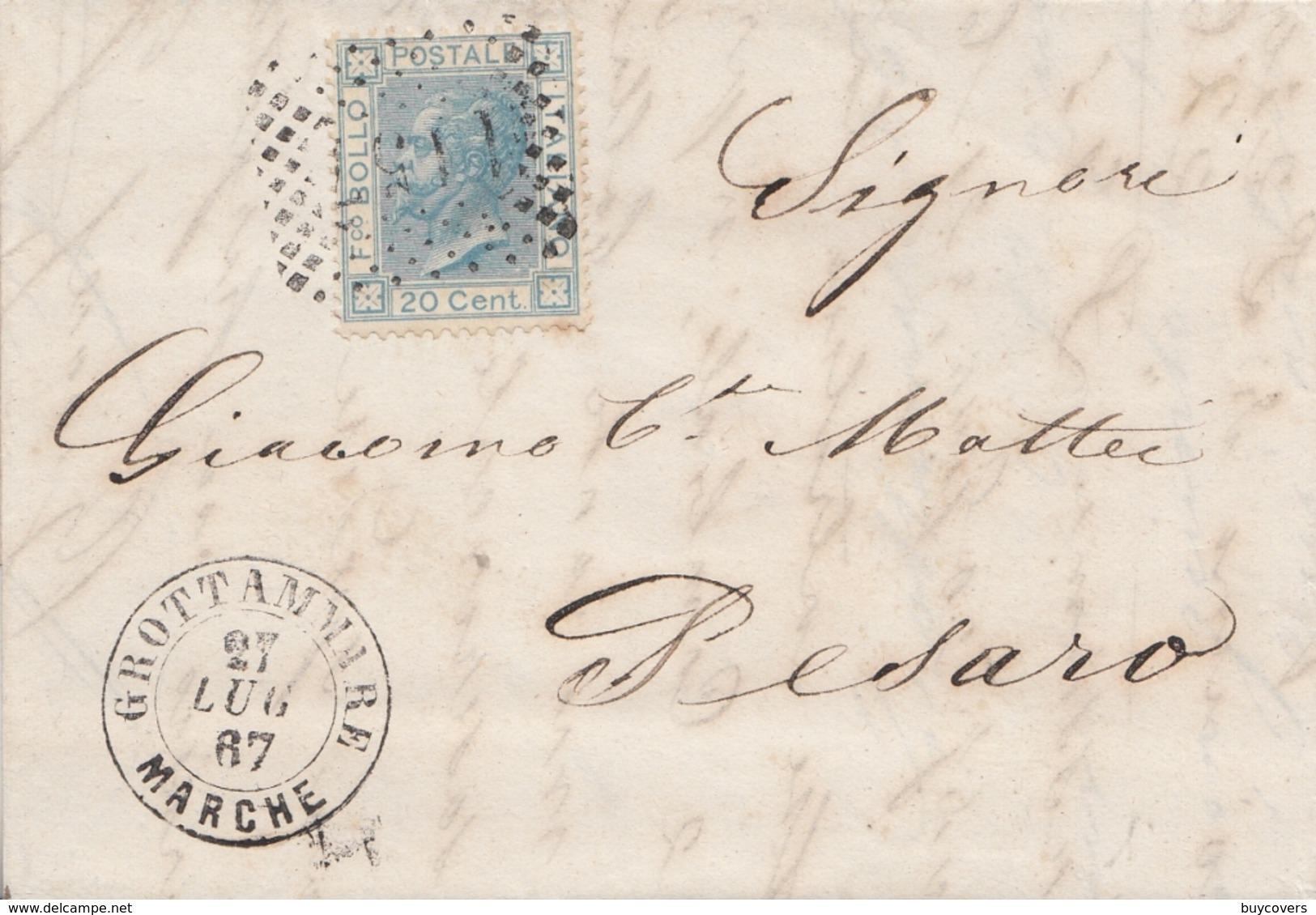 120 - Lettera Con Testo Del 1867 Da Grottammare A Pesaro Con Cent. 20 Azzurro - Annullo Numerale -. - 1861-78 Victor Emmanuel II.