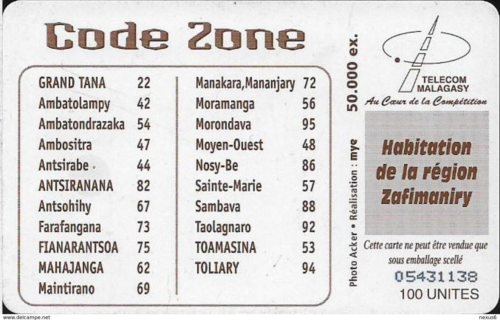 Madagascar - Telecom Malagasy - Zafimaniry House - 100Units, 50.000ex, Used - Madagaskar