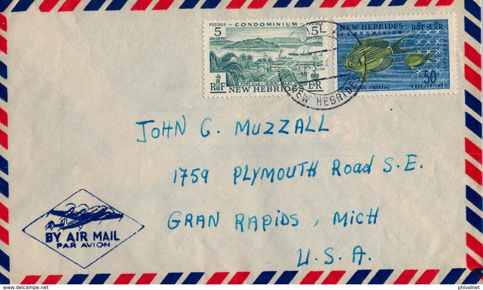 1964 NOUVELLES HEBRIDES / NEW HEBRIDES , SOBRE CIRCULADO PORT VILA - MICHIGAN , CORREO AÉREO, ACANTHUNUS , IRIRIKI ISLET - Cartas