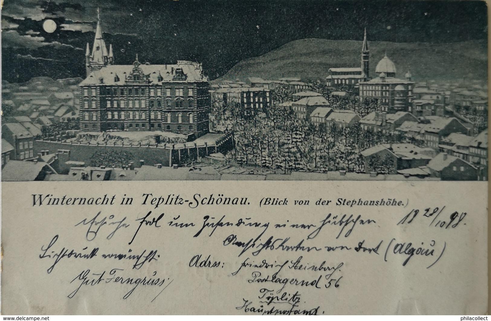 Czech Card // Winternacht In Teplitz Schonau 1898 - Tsjechië