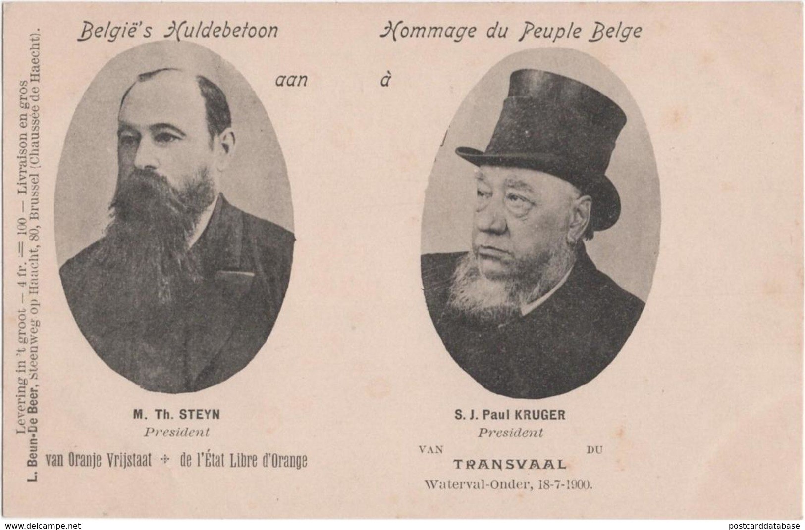 België\'s Huldebetoon - Hommage Du Peuple Belge - Aan à M. Th. Steyn - S. J. Paul Kruger - Transvaal - South Africa