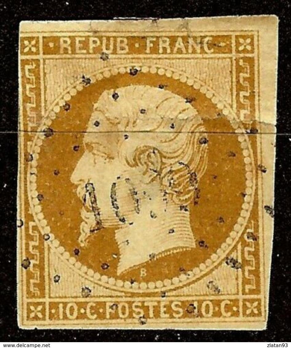 RARE NAPOLEON N°9a 10c Bistre-Brun Oblit Losange PC 1099 Cote 1000€ PETIT AMINCI - 1852 Louis-Napoléon