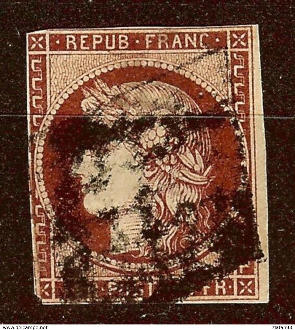 RARE CERES N°6 1F Carmin Foncé Oblitéré GRILLE Cote 1000 Euro LEGER AMINCI - 1849-1850 Cérès