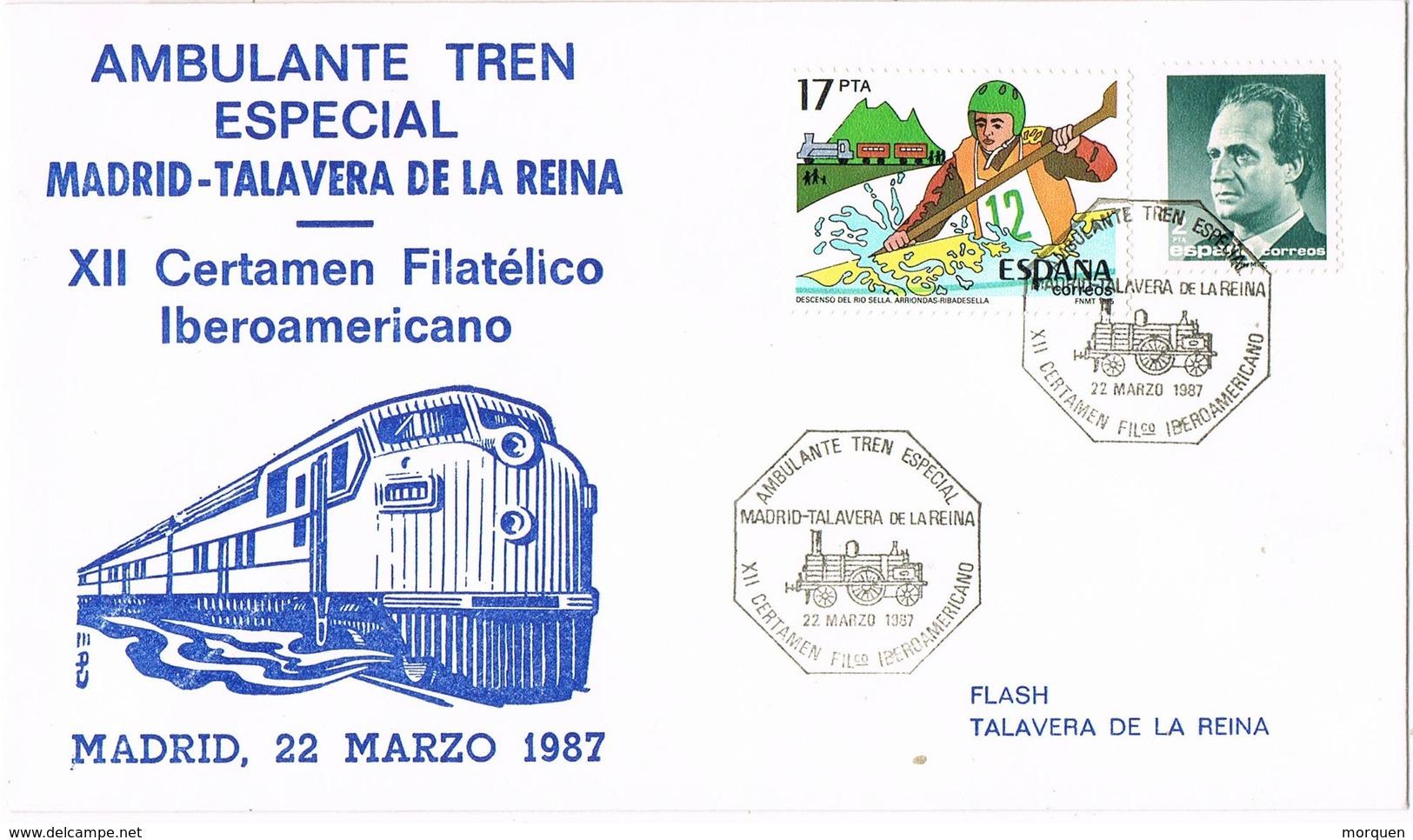 33518. Carta MADRID 1987. Ambulante Ferrocarril Especial Madrid - Talavera De La Reina (Toledo) - 1931-Hoy: 2ª República - ... Juan Carlos I