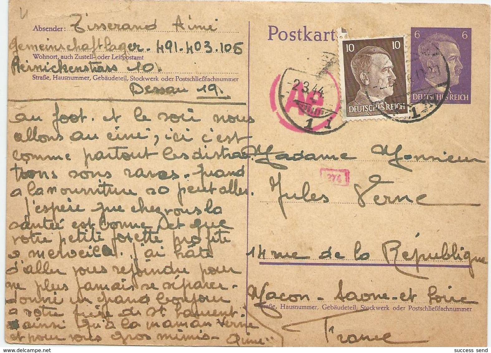 ALLEMAGNE POSTKARTE 1944 GEMEINSCHAFTLAGER DESSAU STO. Mr Et Mme Jules VERNE !!! - Allemagne